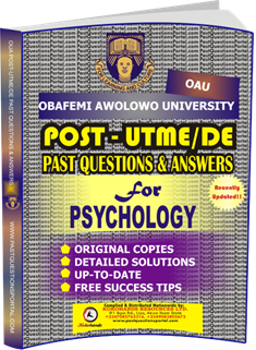 OAU Post UTME Past Questions for PSYCHOLOGY