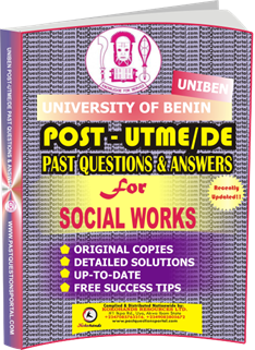 UNIBEN Past UTME Questions for SOCIAL WORKS