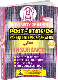 UNIBEN Post UTME Past Questions for INSURANCE
