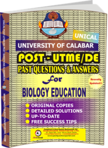 UNICAL Past UTME Questions for BIOLOGY EDUCATION