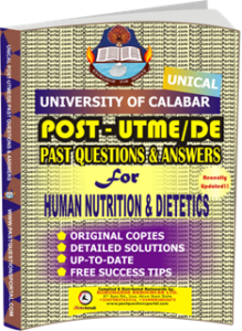 UNICAL Past UTME Questions for HUMAN NUTRITION DIETETICS