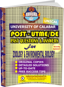 UNICAL Past UTME Questions for ZOOLOGY ENVIRONMENTAL BIOLOGY