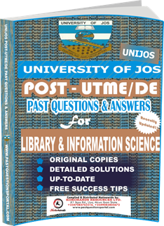 UNIJOS Past UTME Questions for LIBRARY INFORMATION SCIENCE