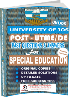 UNIJOS Past UTME Questions for SPECIAL EDUCATION