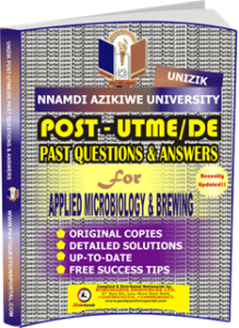 UNIZIK Past UTME Questions for APPLIED MICROBIOLOGY BREWING