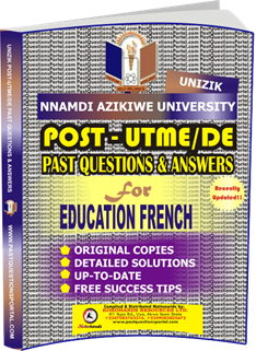 UNIZIK Past UTME Questions for EDUCATION FRENCH