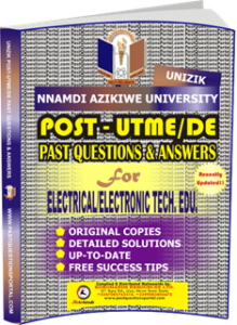 UNIZIK Past UTME Questions for ELECTRICAL ELECTRONIC TECHNOLOGY