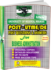UNN Past UTME Questions for BUSINESS ADMINISTRATION