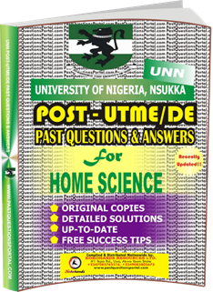 UNN Past UTME Questions for HOME SCIENCE