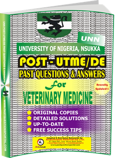 UNN Past UTME Questions for VETERINARY MEDICINE