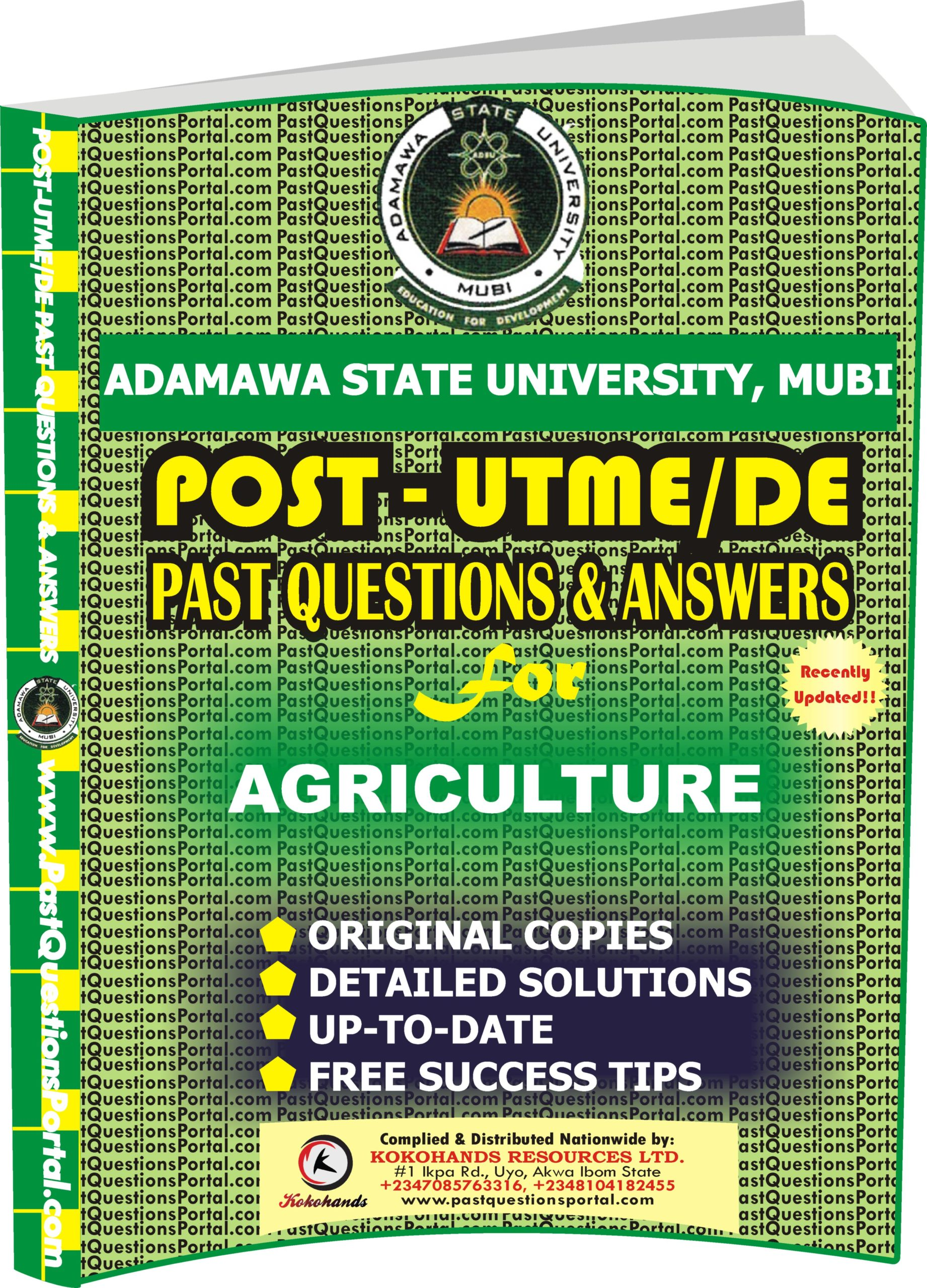 ADSU Post UTME Past Questions for AGRICULTURE