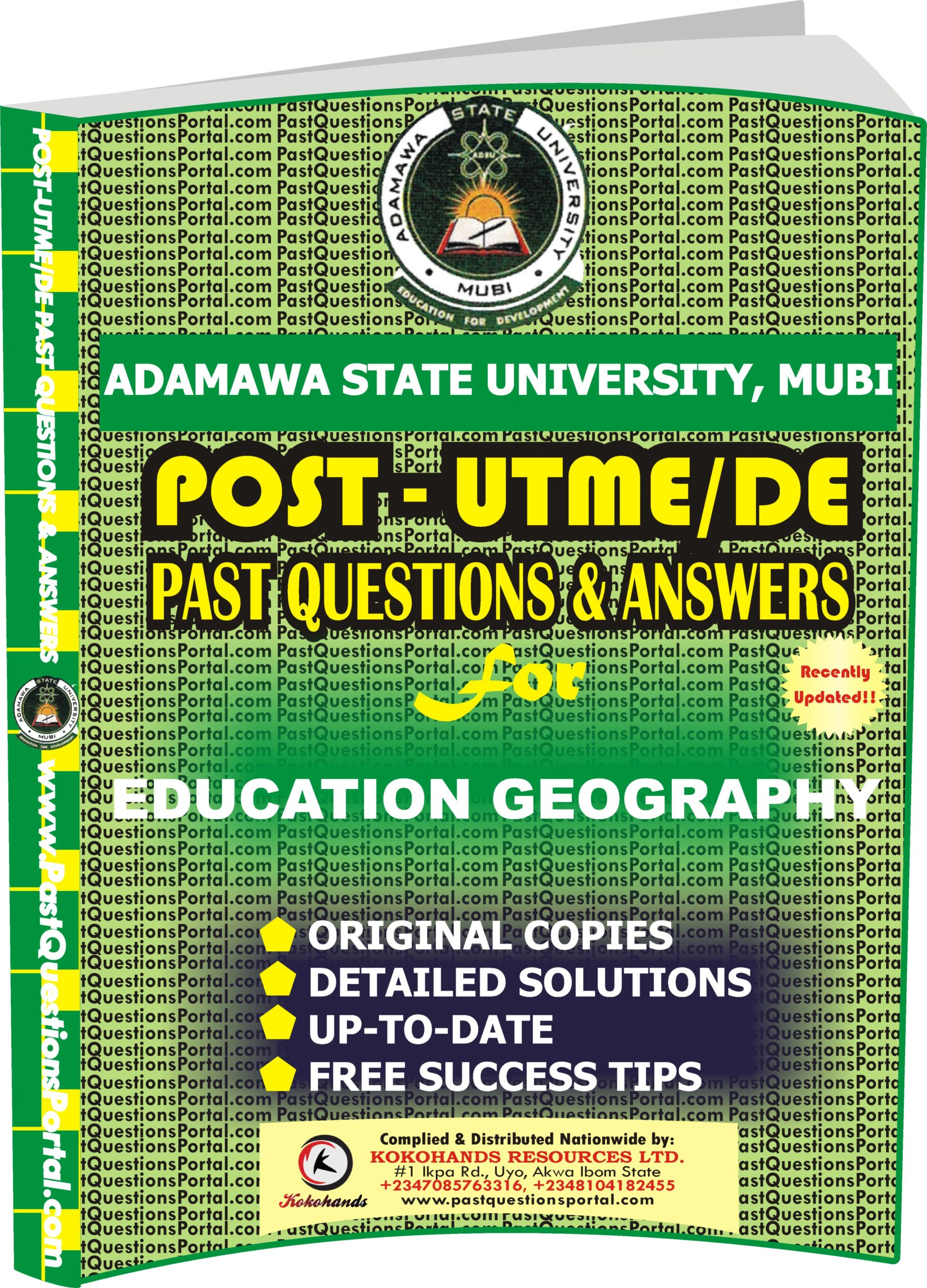 ADSU Post UTME Past Questions for EDUCATION GEOGRAPHY