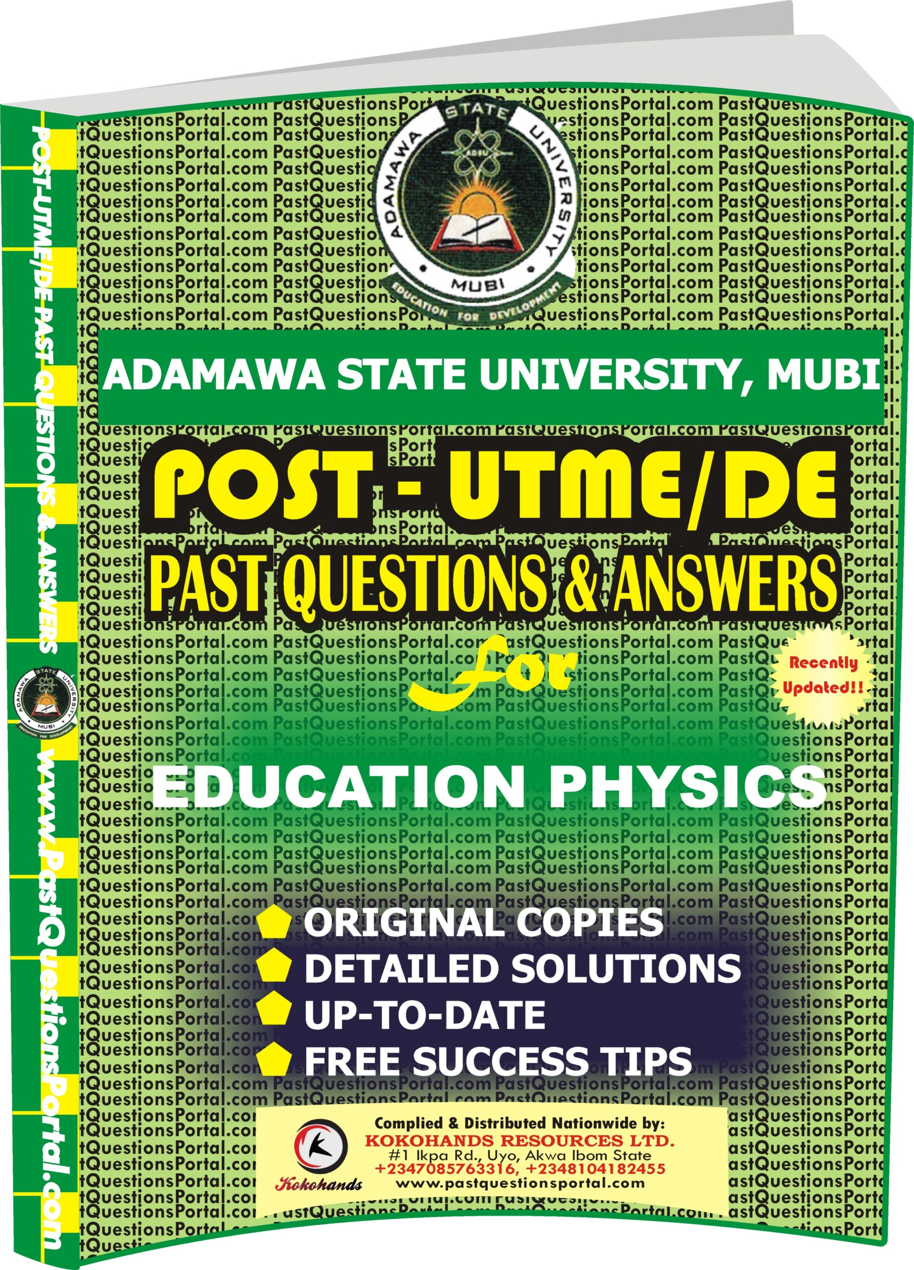 ADSU Post UTME Past Questions for EDUCATION PHYSICS