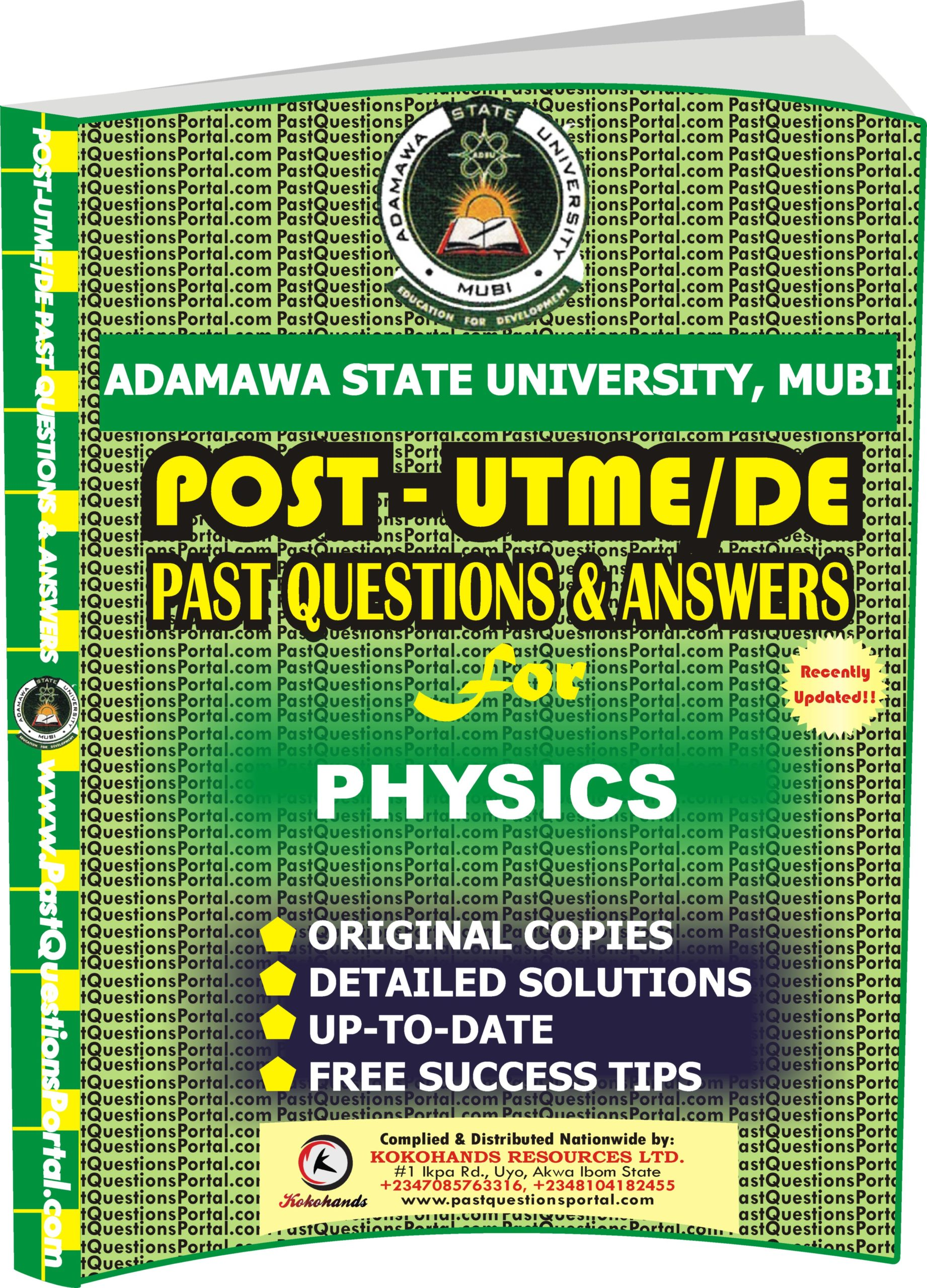 ADSU Post UTME Past Questions for PHYSICS