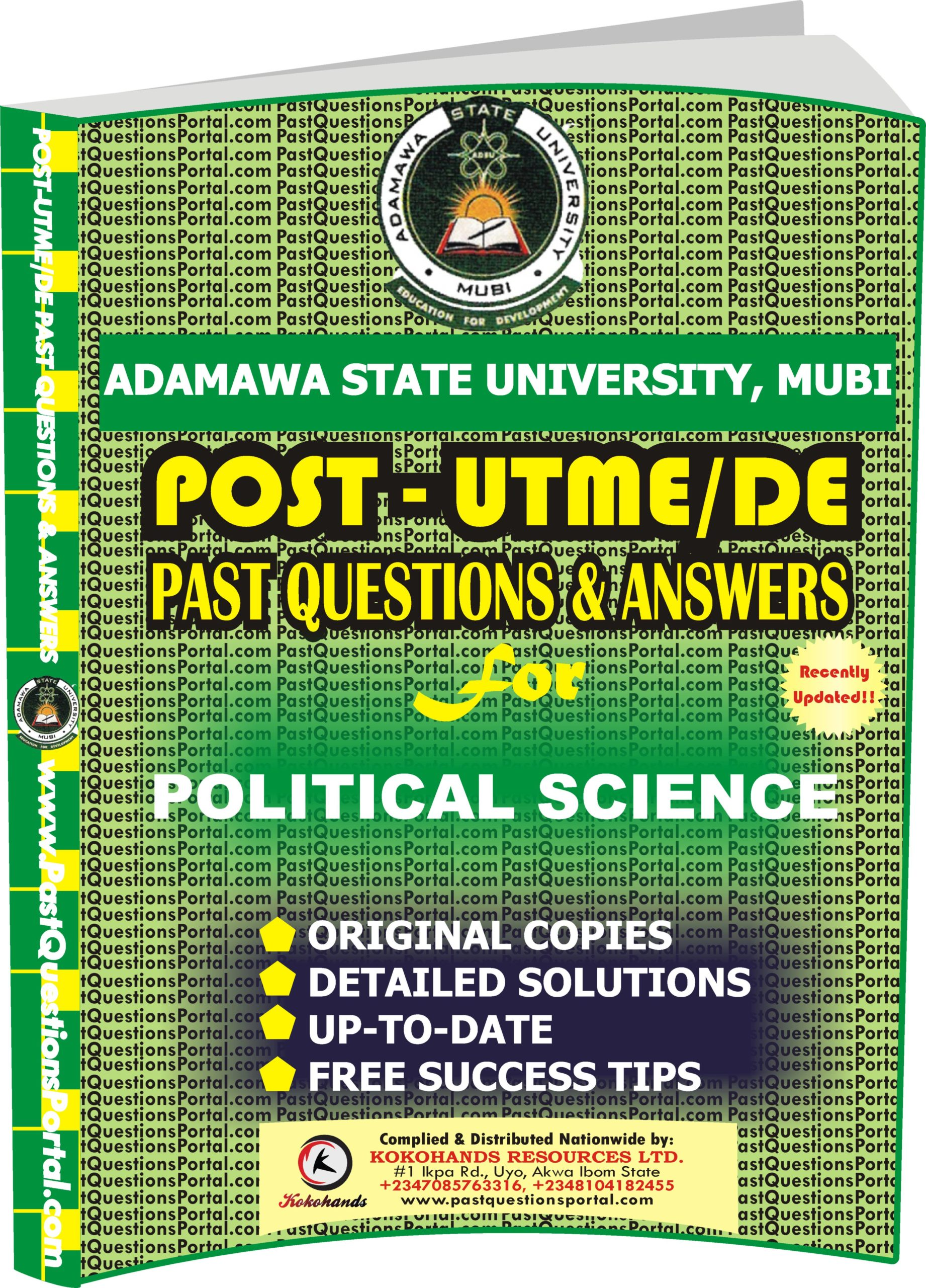ADSU Post UTME Past Questions for POLITICAL SCIENCE
