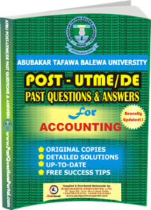 ATBU Post UTME Past Questions for Accounting