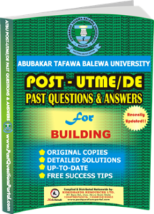 ATBU Post UTME Past Questions for Building