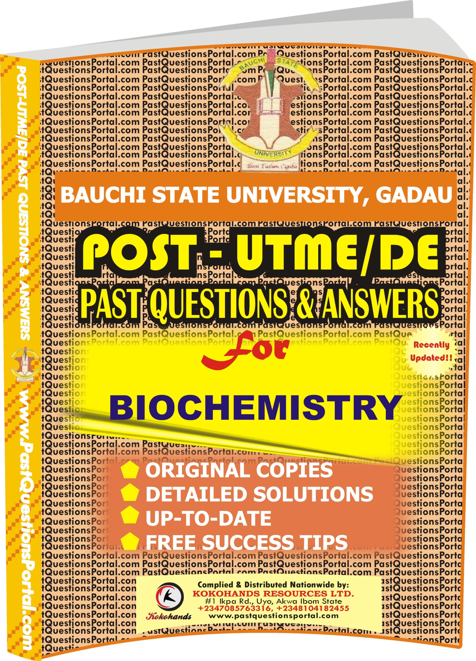 BASUG Post UTME Past Questions for BIOCHEMISTRY