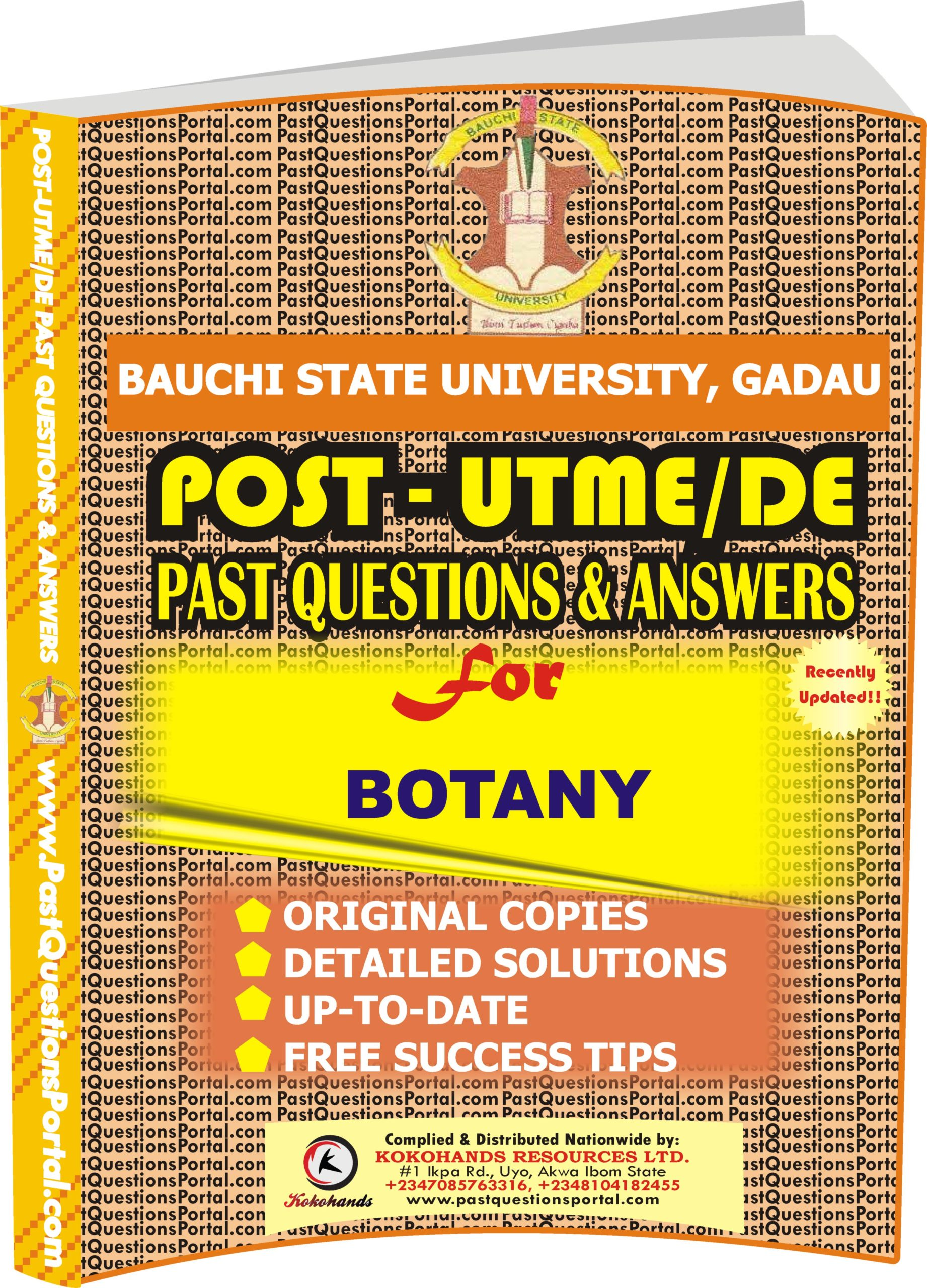 BASUG Post UTME Past Questions for BOTANY