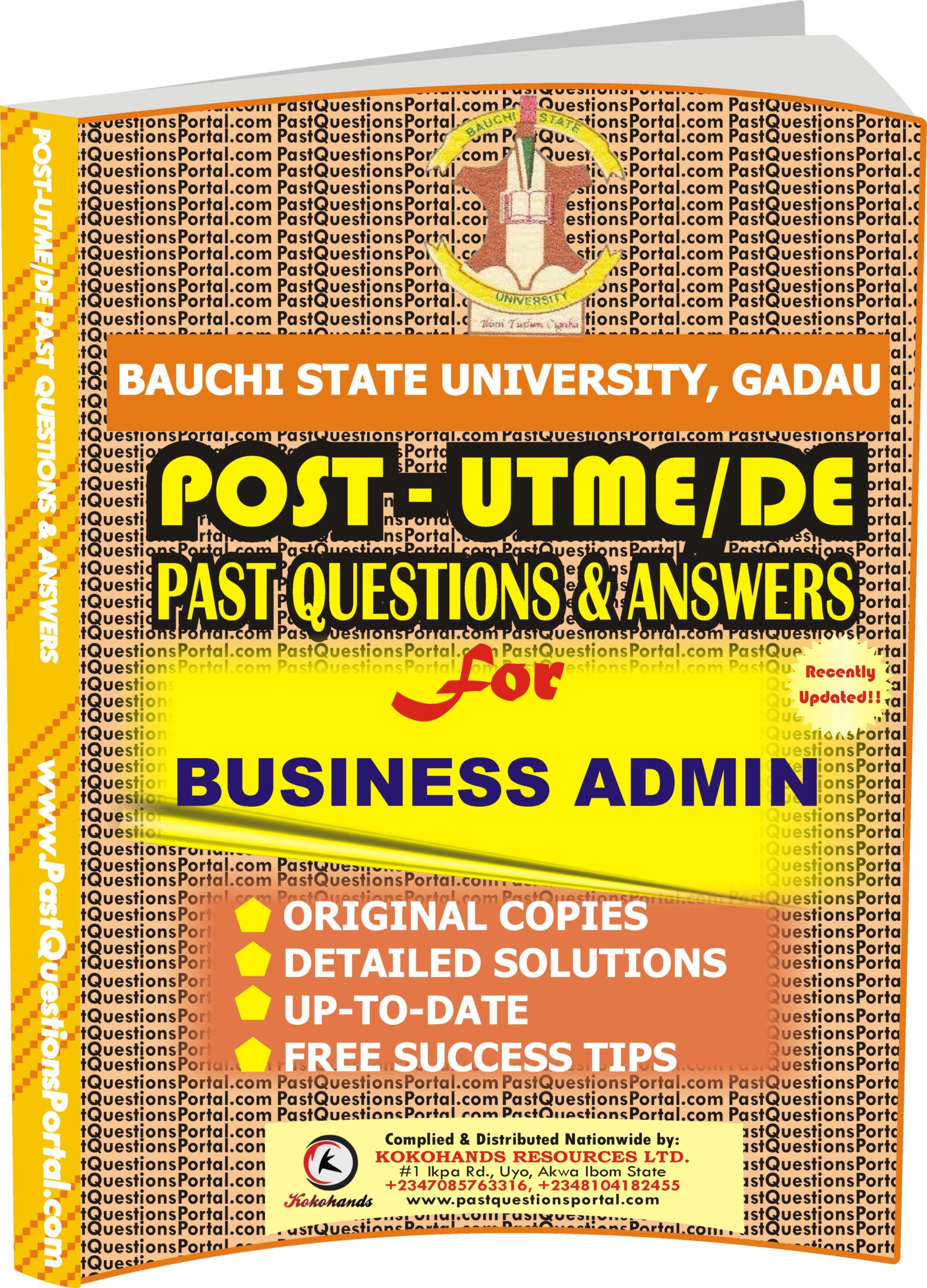 BASUG Post UTME Past Questions for BUSINESS ADMIN