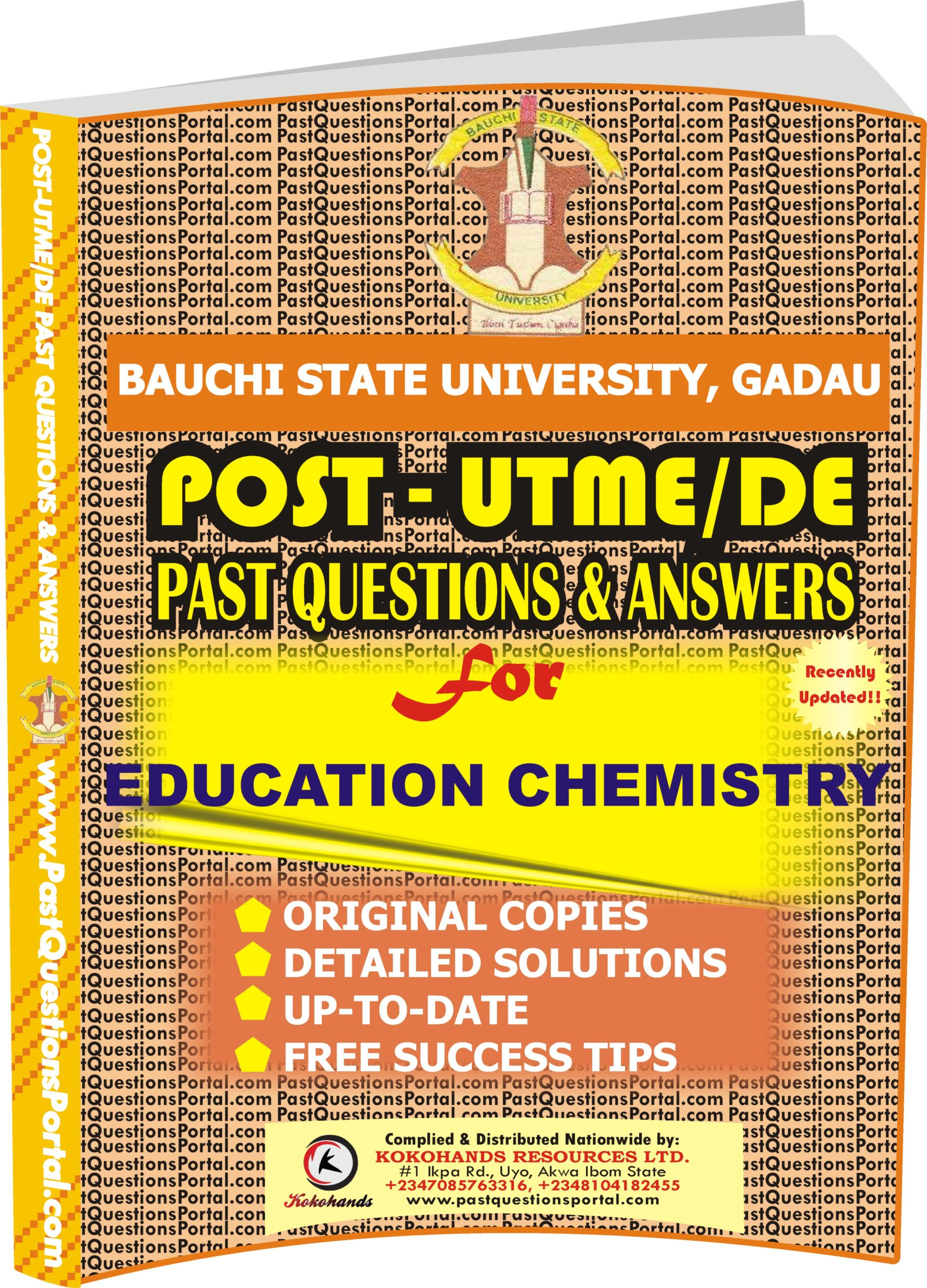 BASUG Post UTME Past Questions for EDUCATION CHEMISTRY