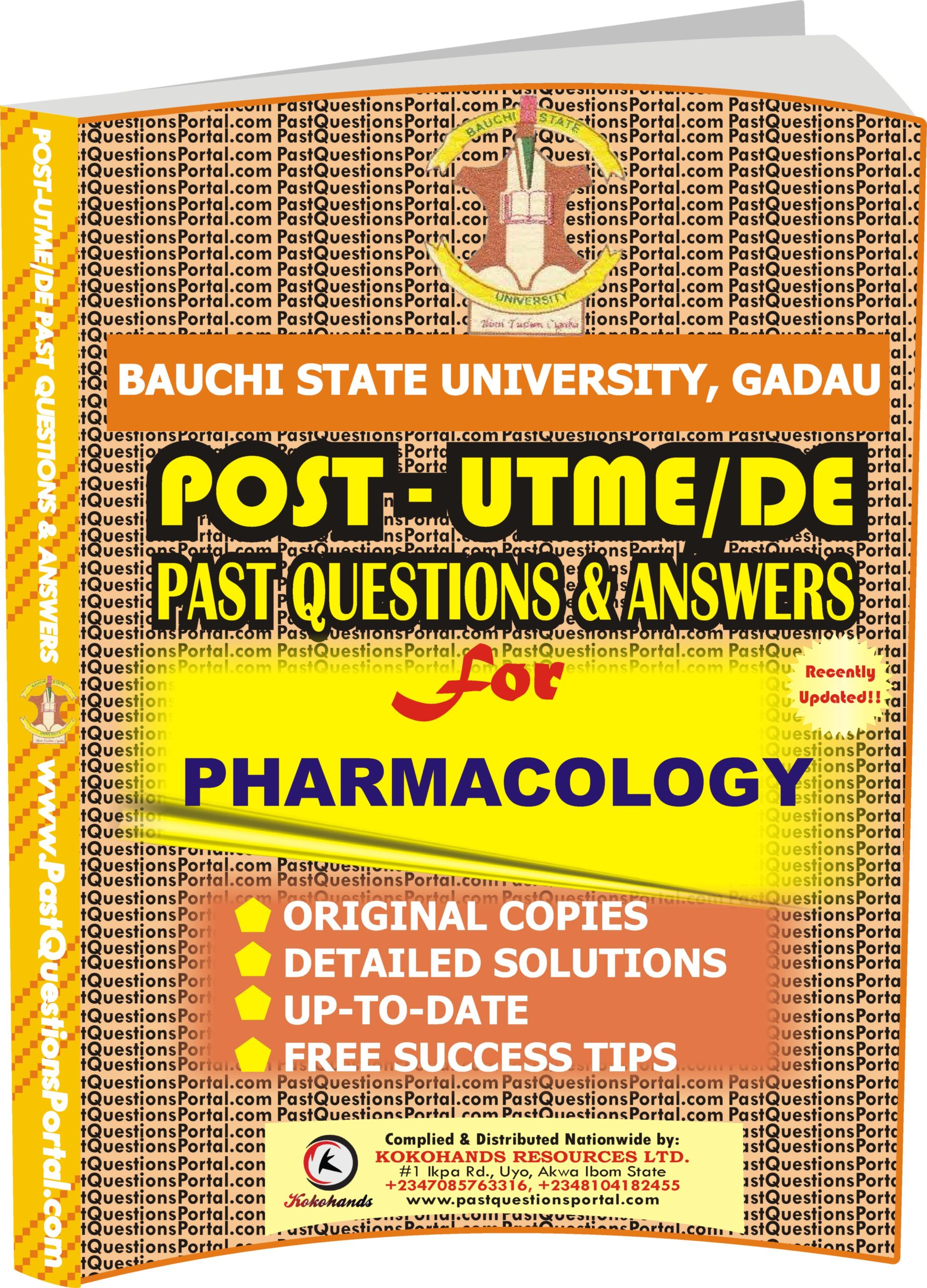 BASUG Post UTME Past Questions for PHARMACOLOGY