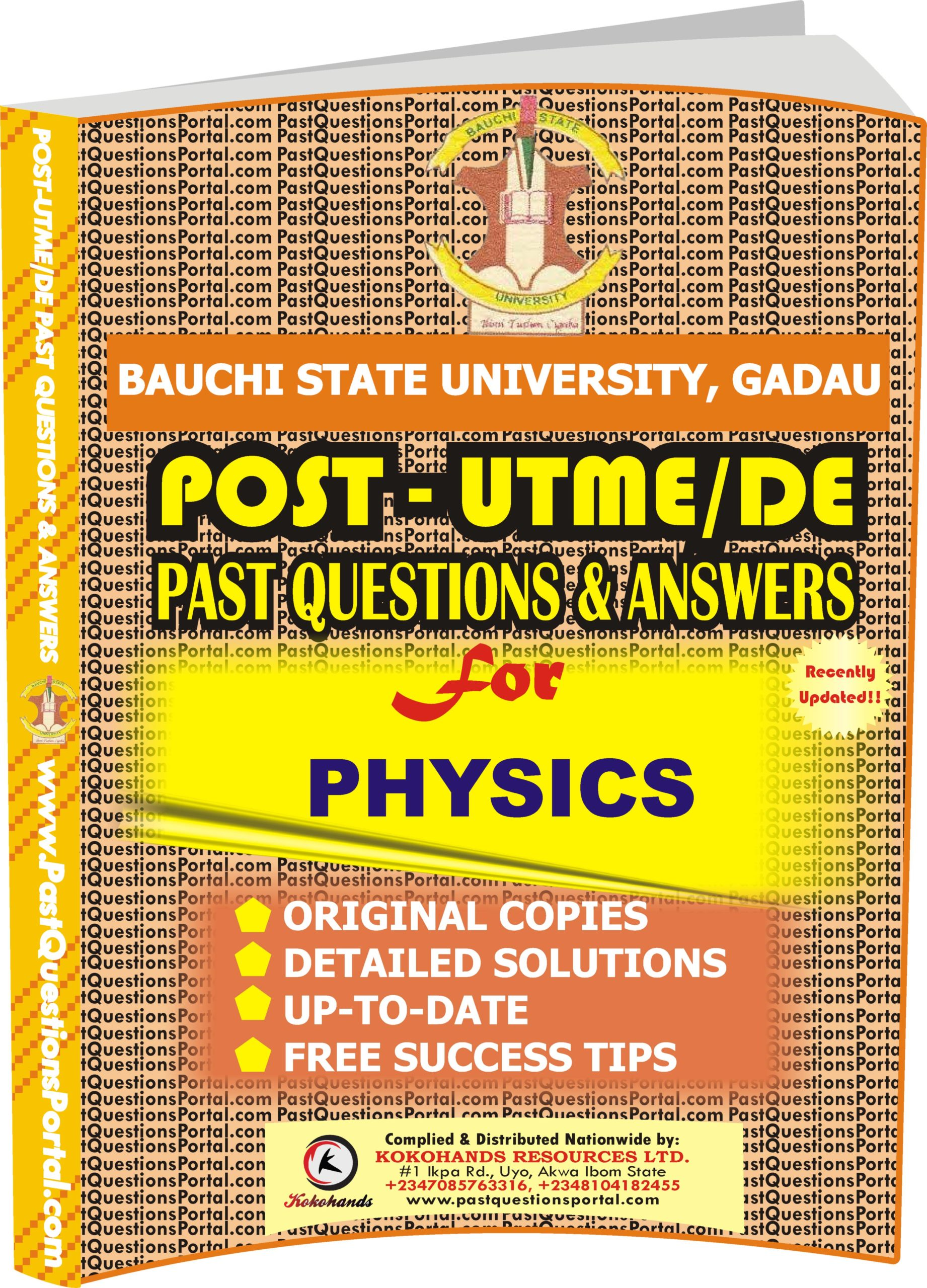 BASUG Post UTME Past Questions for PHYSICS