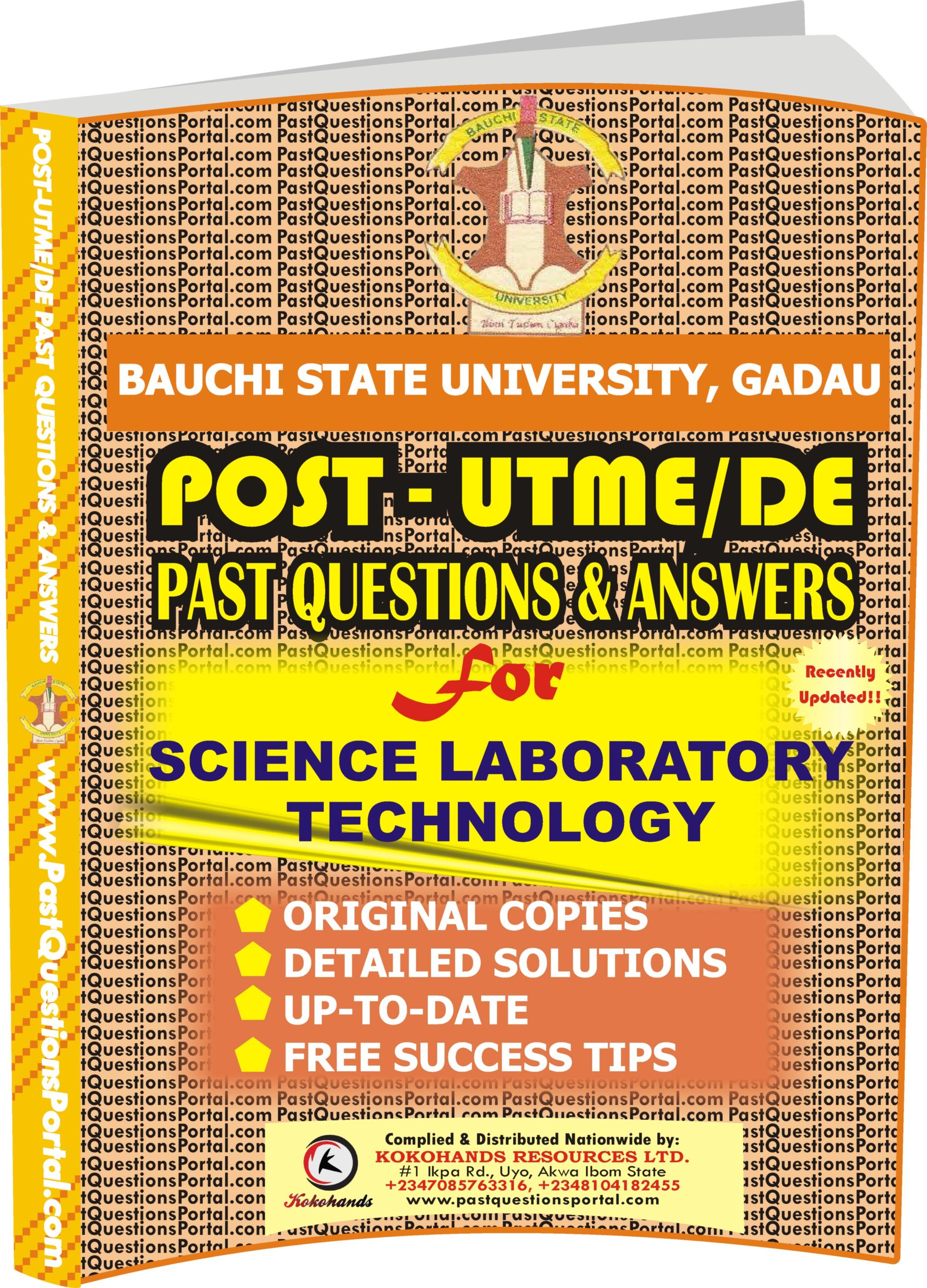 BASUG Post UTME Past Questions for Science Laboratory Technology