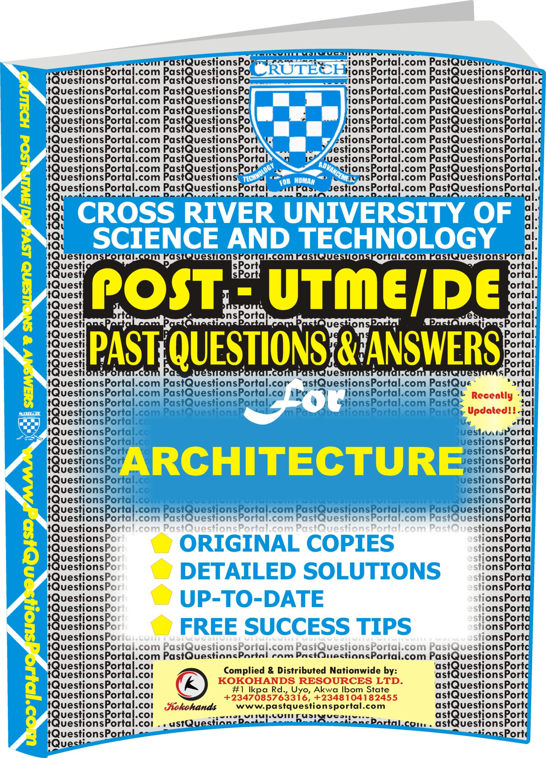 CRUTECH Post UTME Past Questions for ARCHITECTURE
