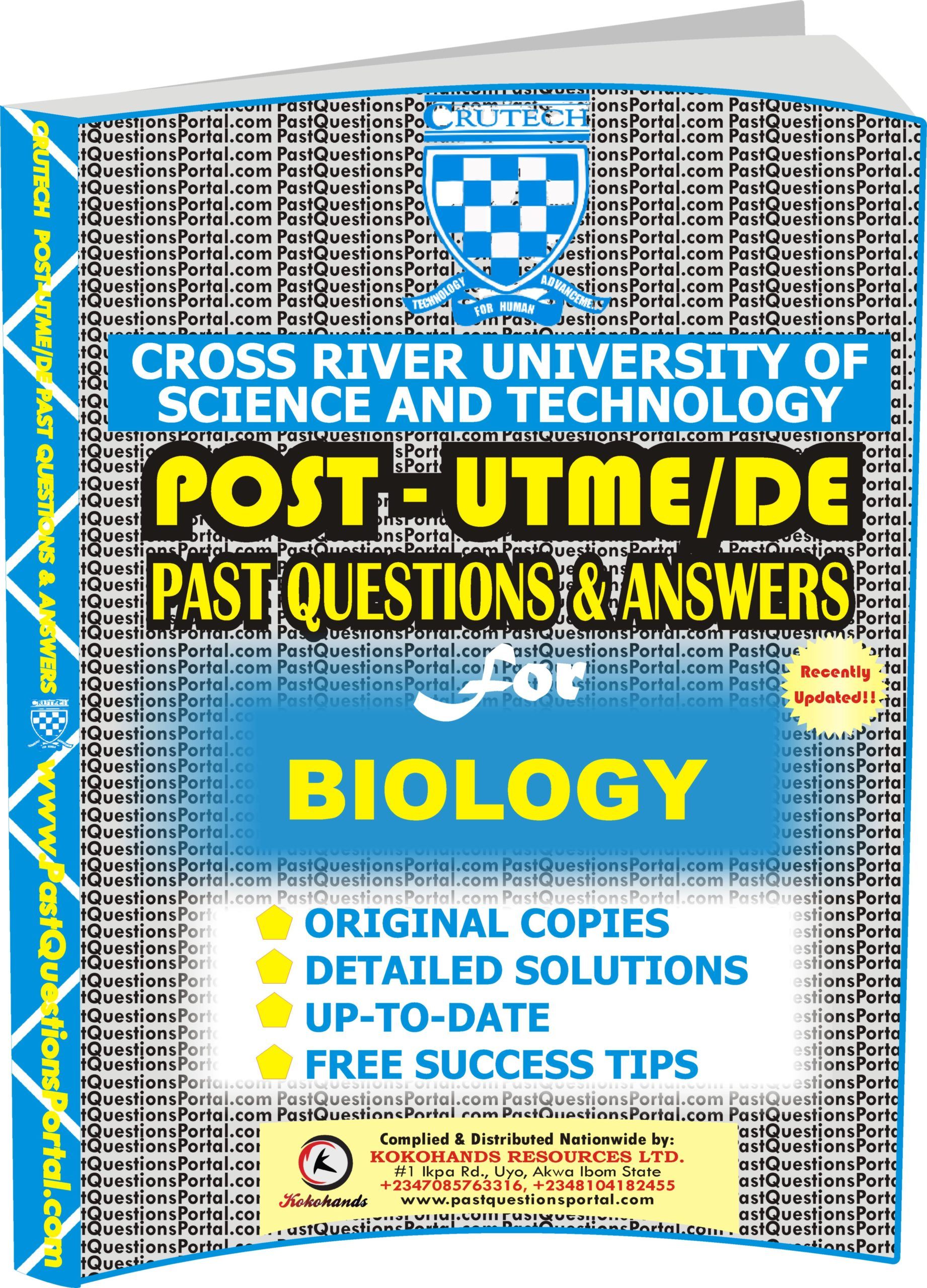CRUTECH Post UTME Past Questions for BIOLOGY
