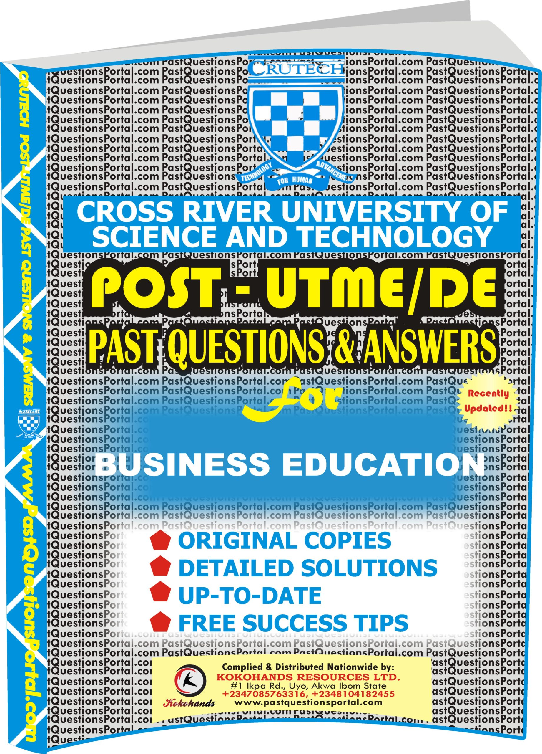 CRUTECH Post UTME Past Questions for BUSINESS EDUCATION