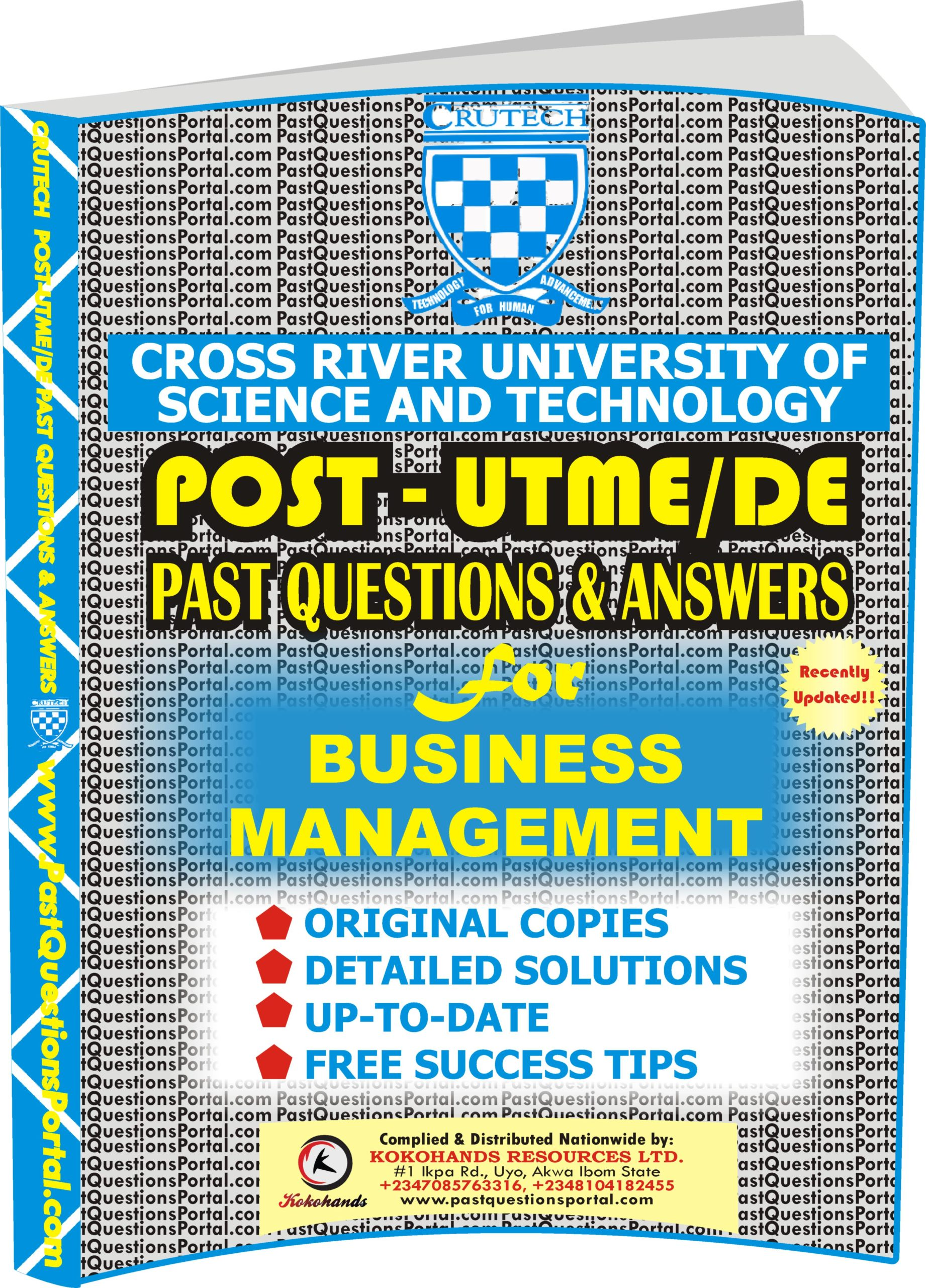 CRUTECH Post UTME Past Questions for BUSINESS MANAGEMENT