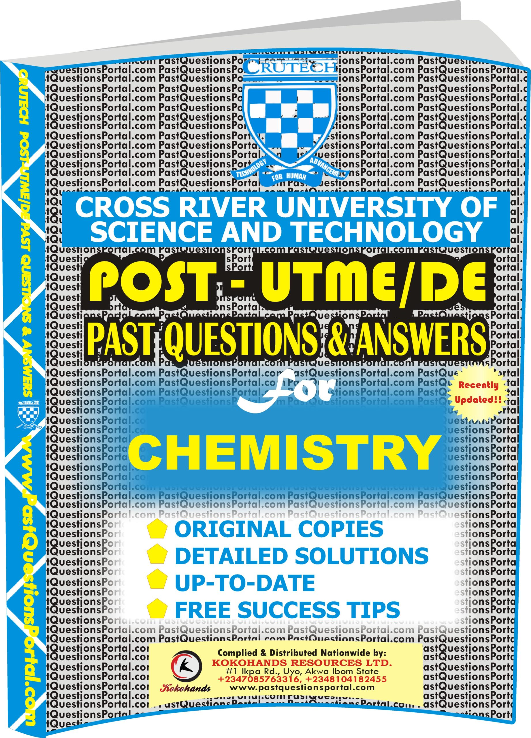 CRUTECH Post UTME Past Questions for CHEMISTRY