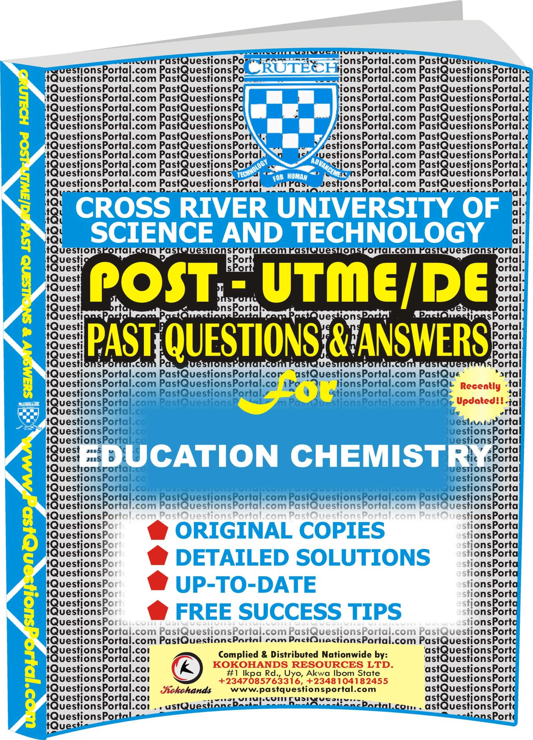 CRUTECH Post UTME Past Questions for EDUCATION CHEMISTRY