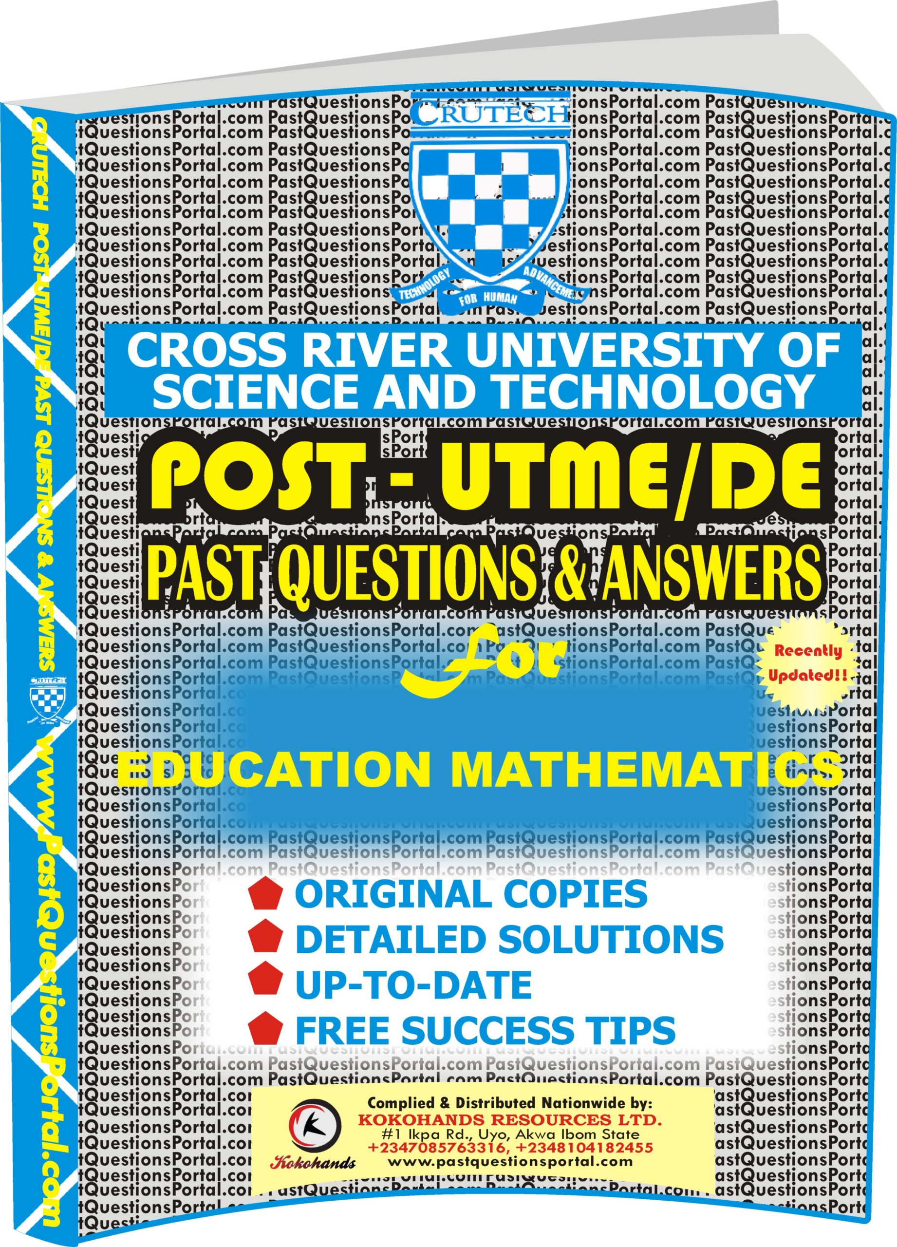 CRUTECH Post UTME Past Questions for EDUCATION MATHEMATICS