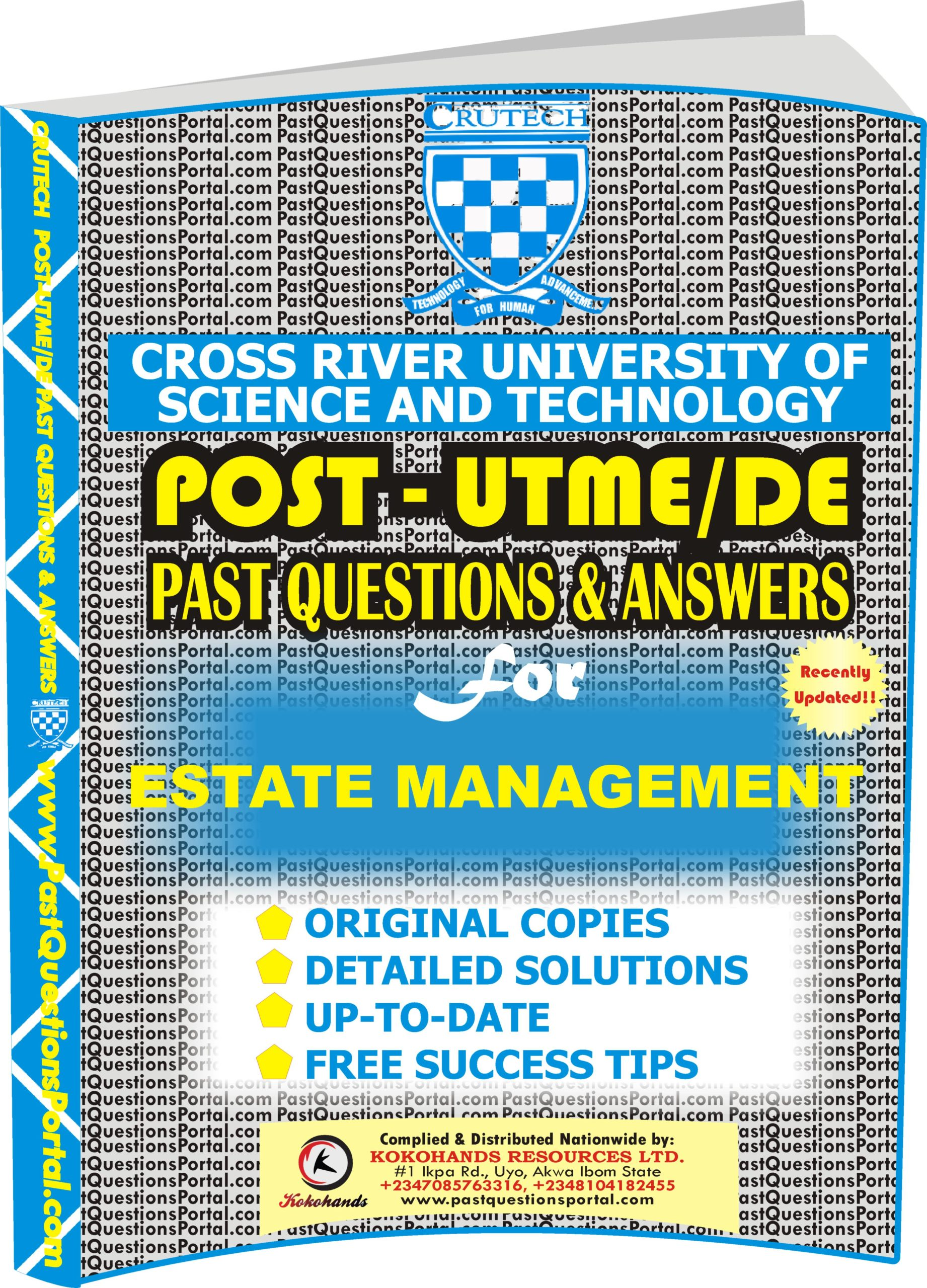 CRUTECH Post UTME Past Questions for ESTATE MANAGEMENT