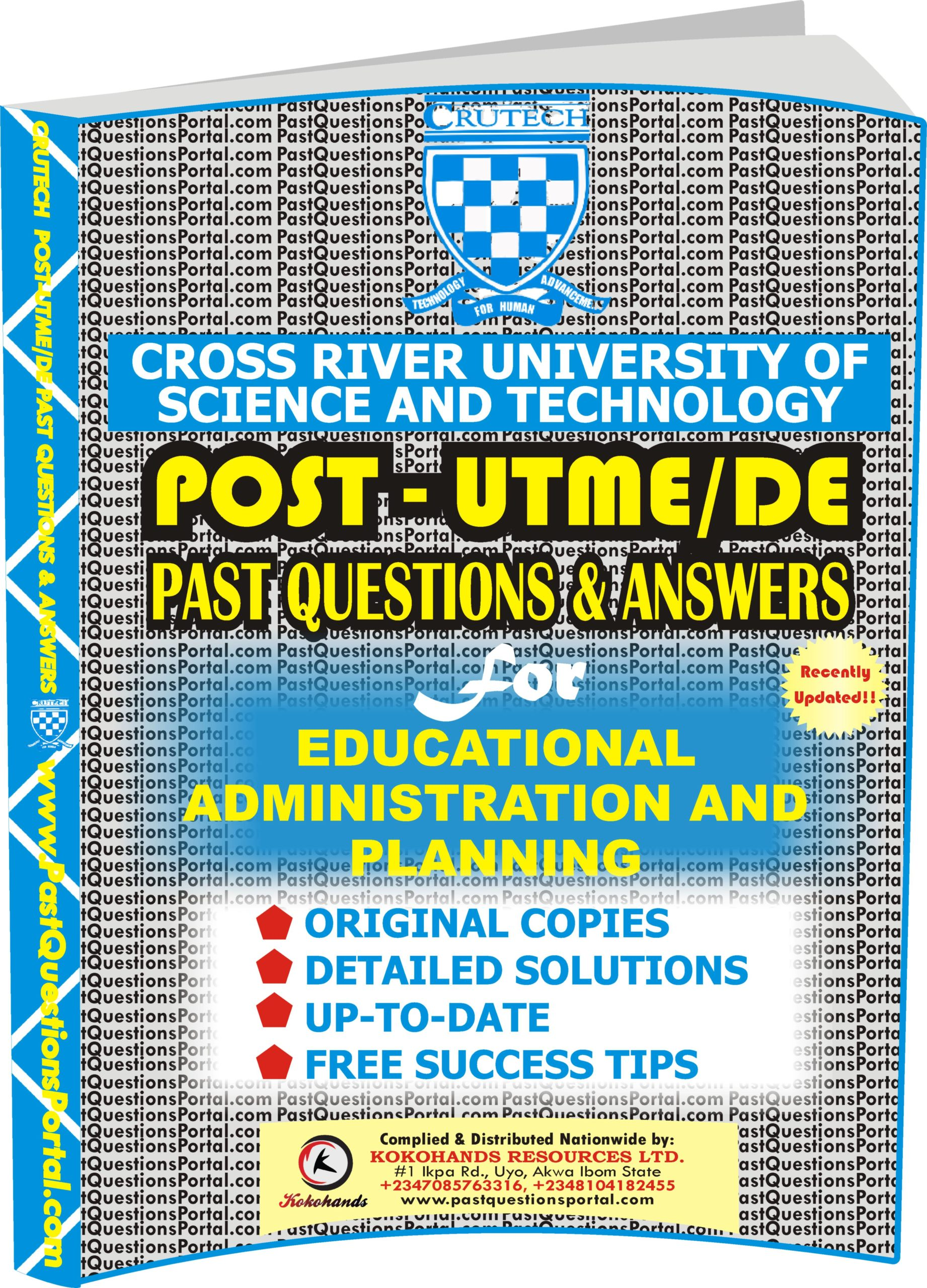 CRUTECH Post UTME Past Questions for Educational Administration and Planning