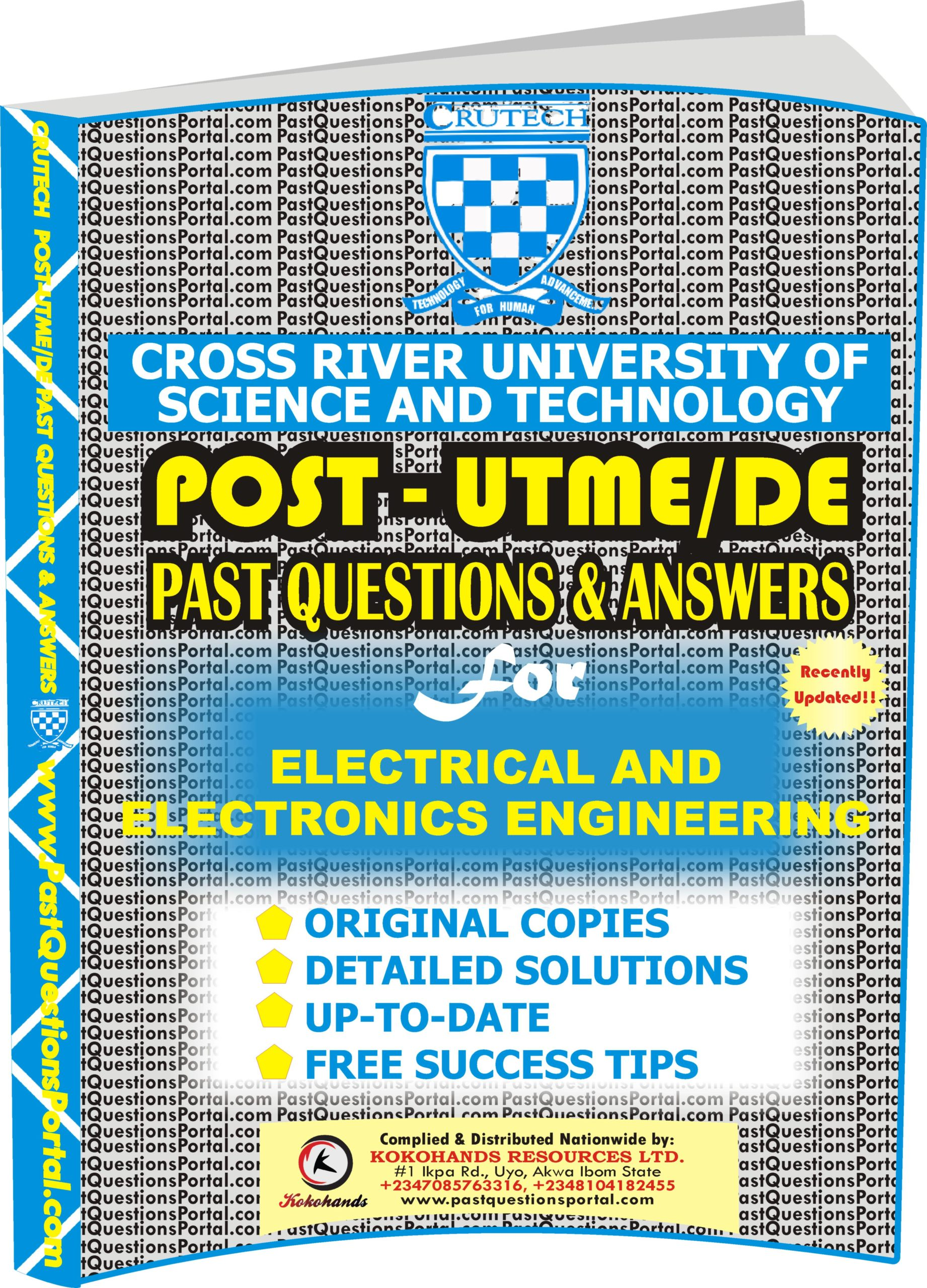 CRUTECH Post UTME Past Questions for Electrical and Electronics Engineering