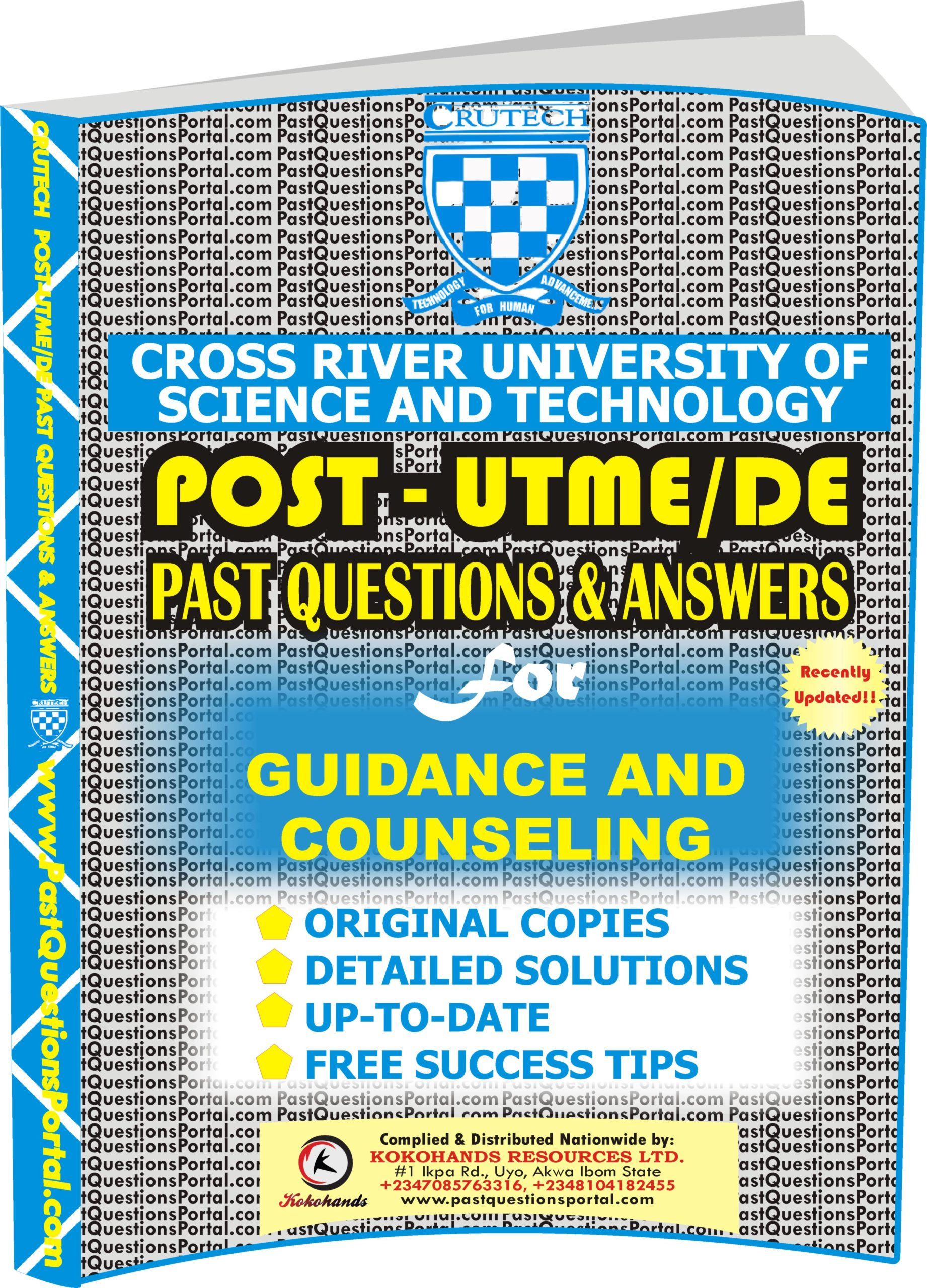 CRUTECH Post UTME Past Questions for GUIDANCE AND COUNSELING