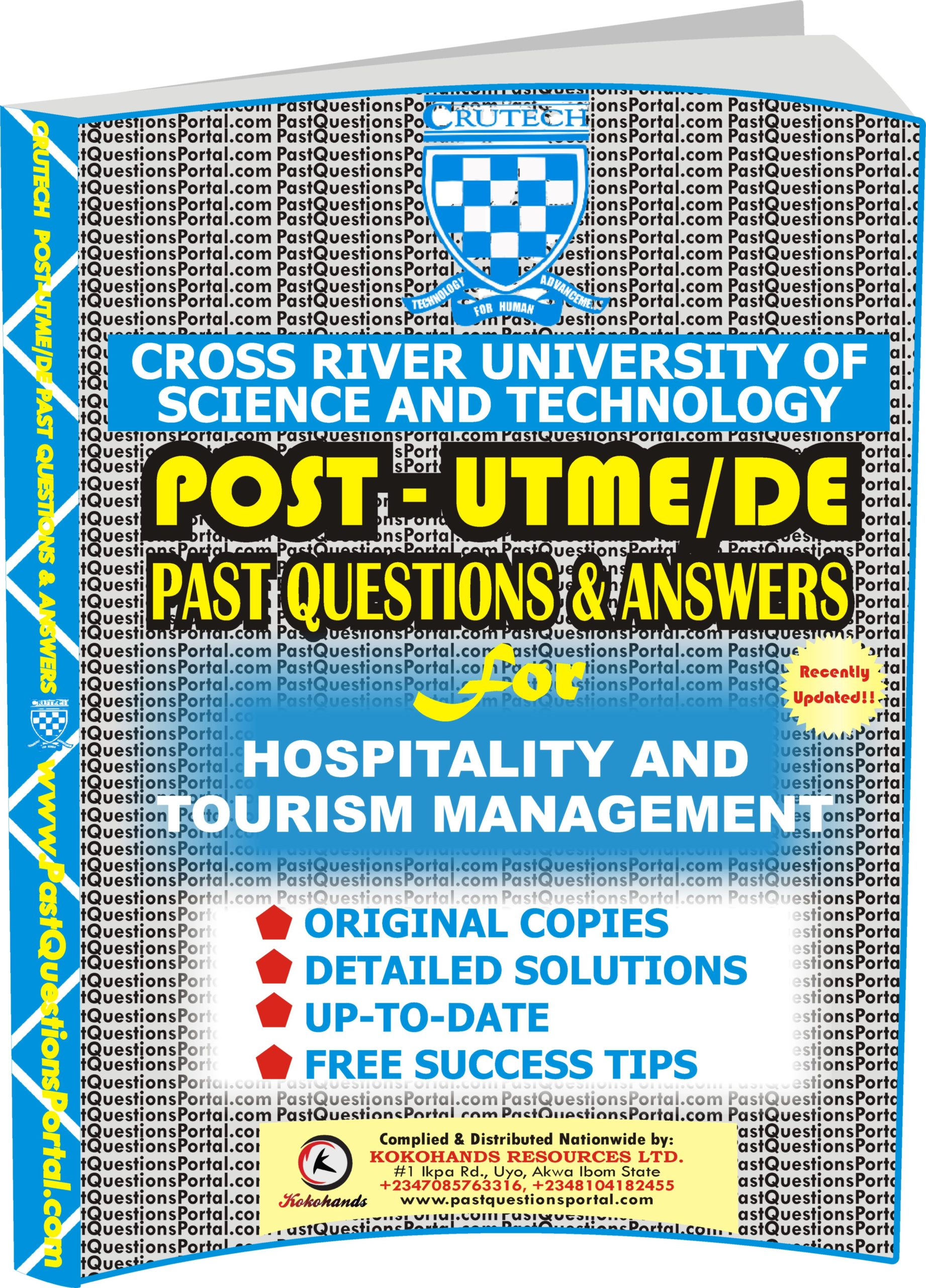 CRUTECH Post UTME Past Questions for Hospitality and Tourism Management