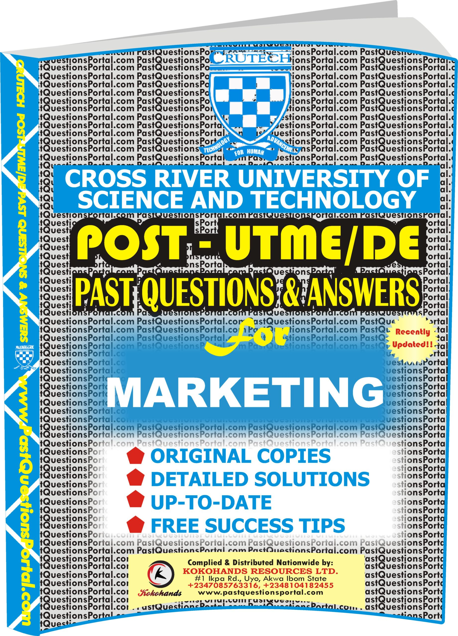 CRUTECH Post UTME Past Questions for MARKETING