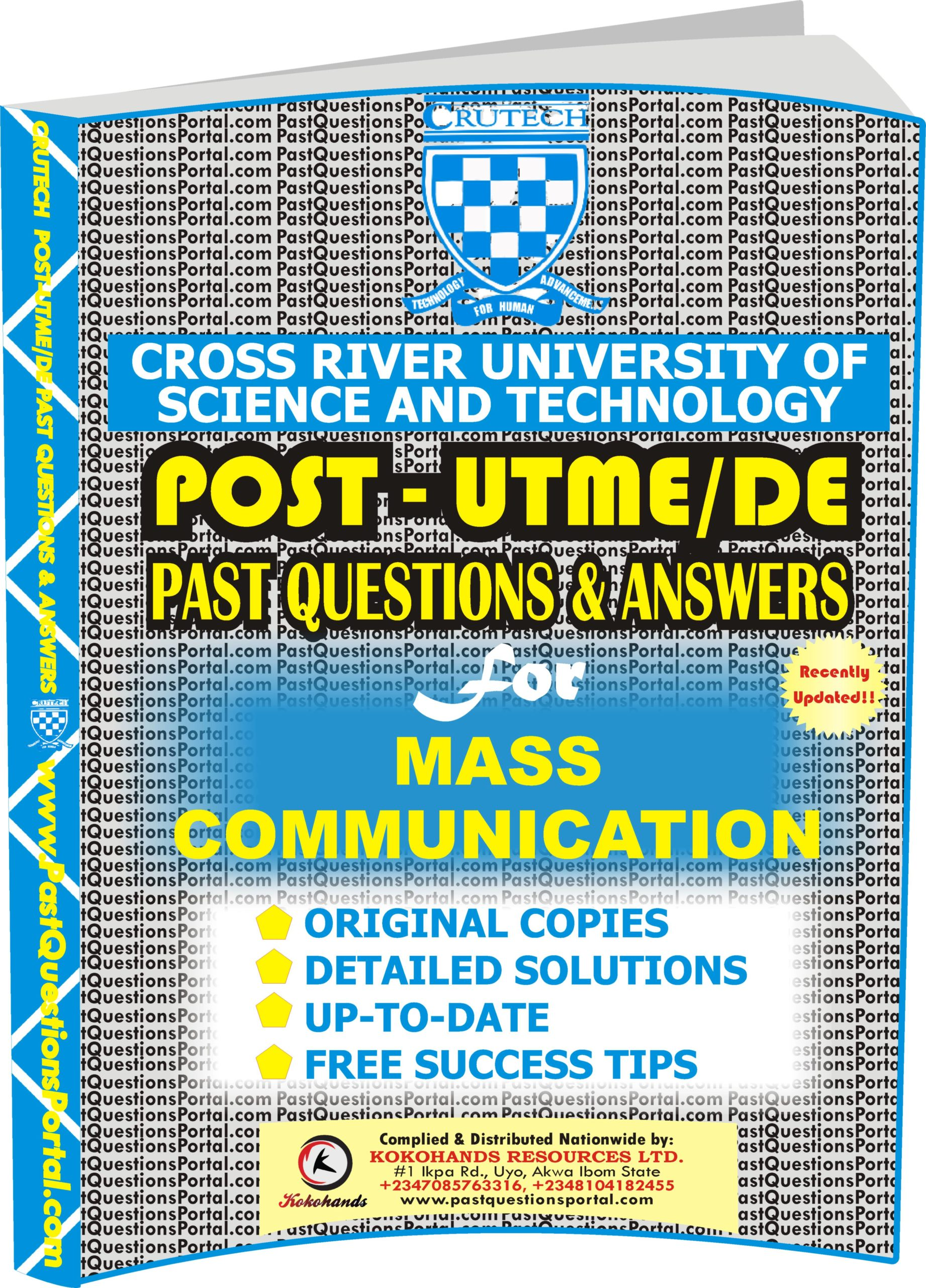 CRUTECH Post UTME Past Questions for MASS COMMUNICATION