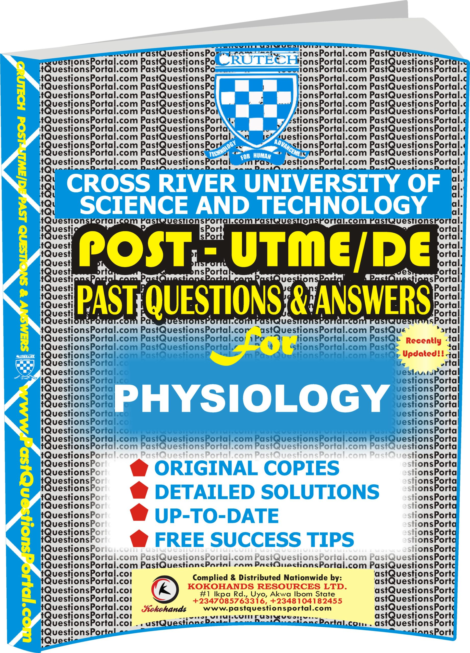 CRUTECH Post UTME Past Questions for PHYSIOLOGY