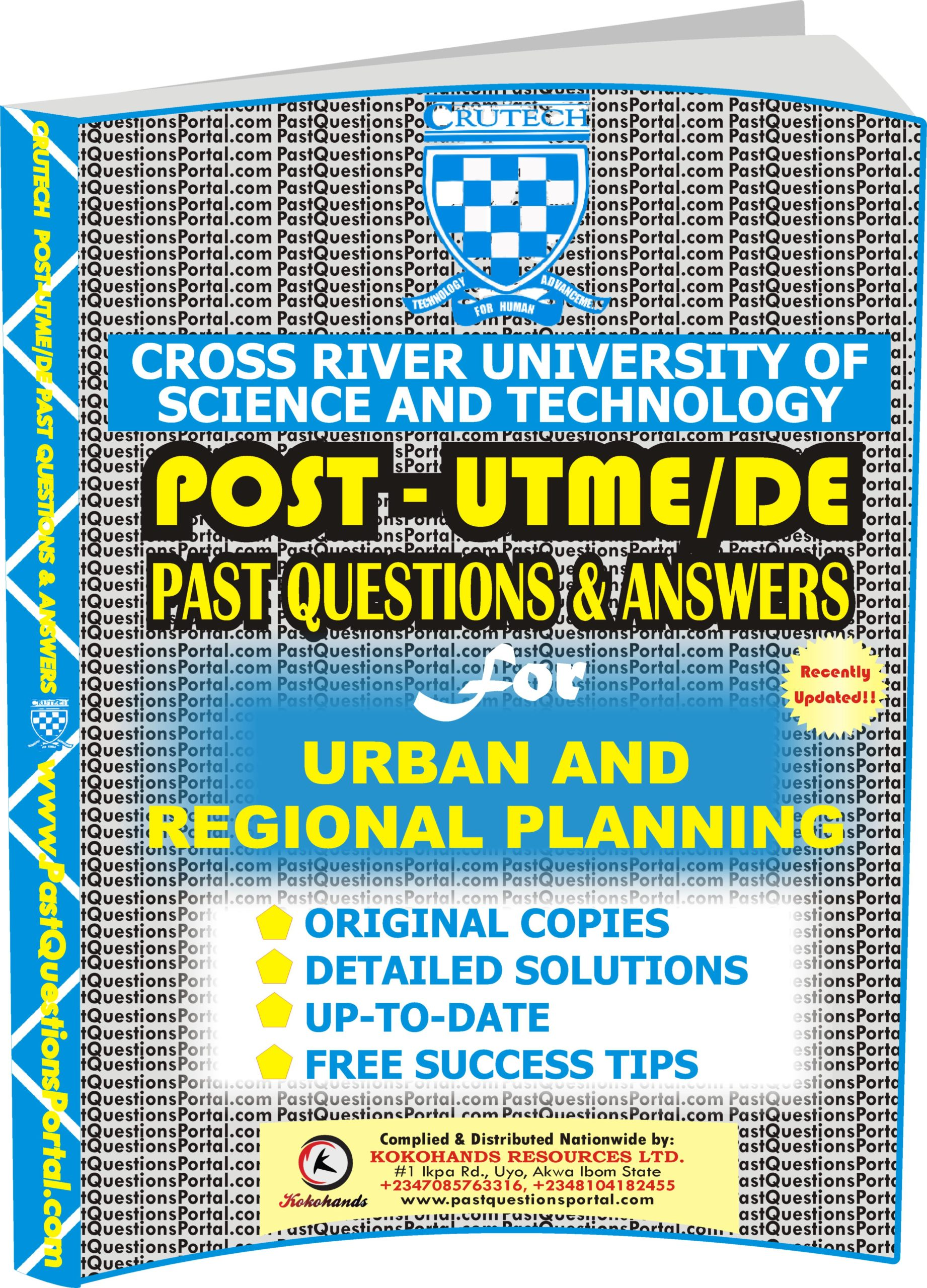 CRUTECH Post UTME Past Questions for Urban and Regional Planning