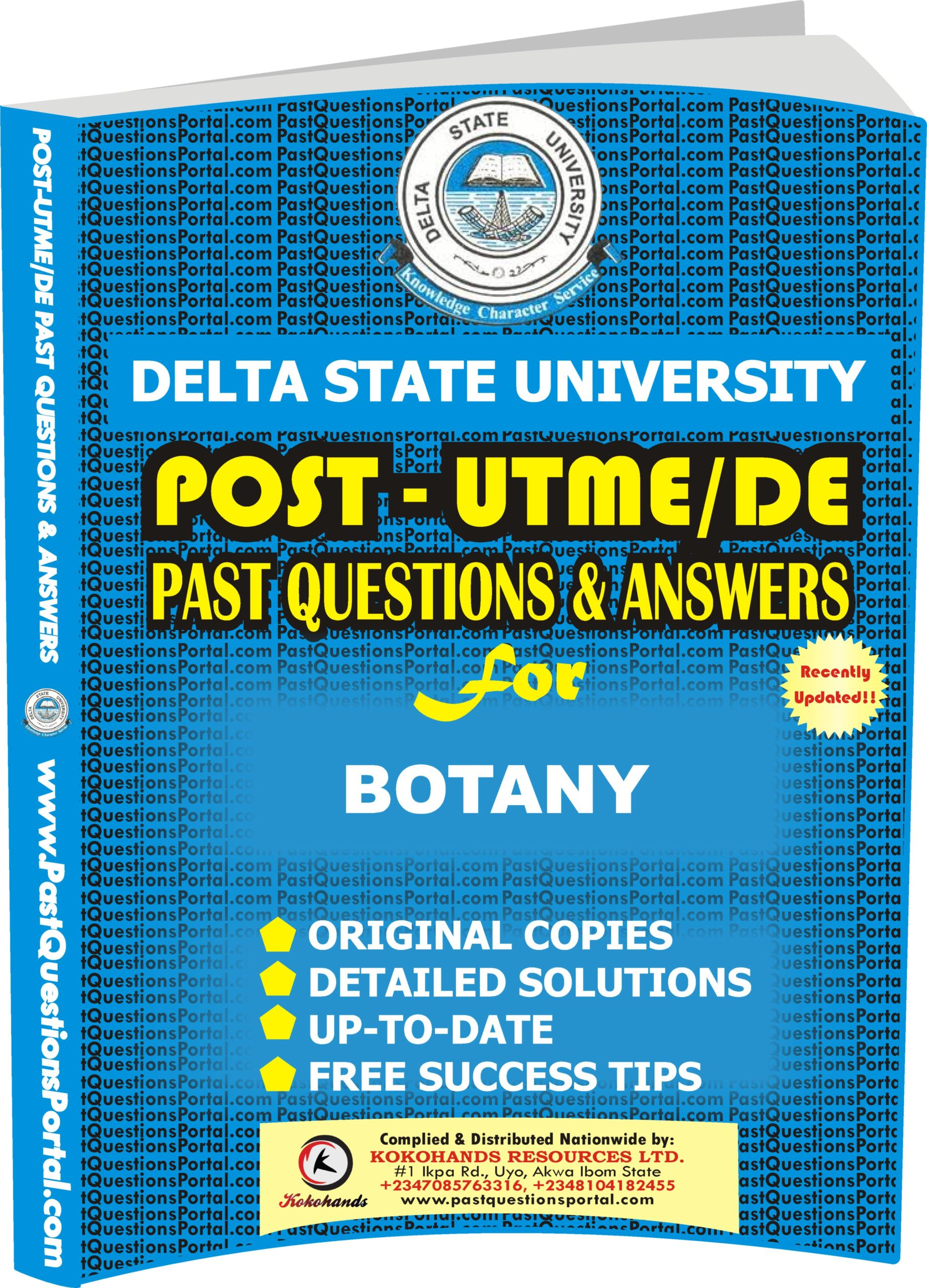 DELSU Post UTME Past Questions for BOTANY