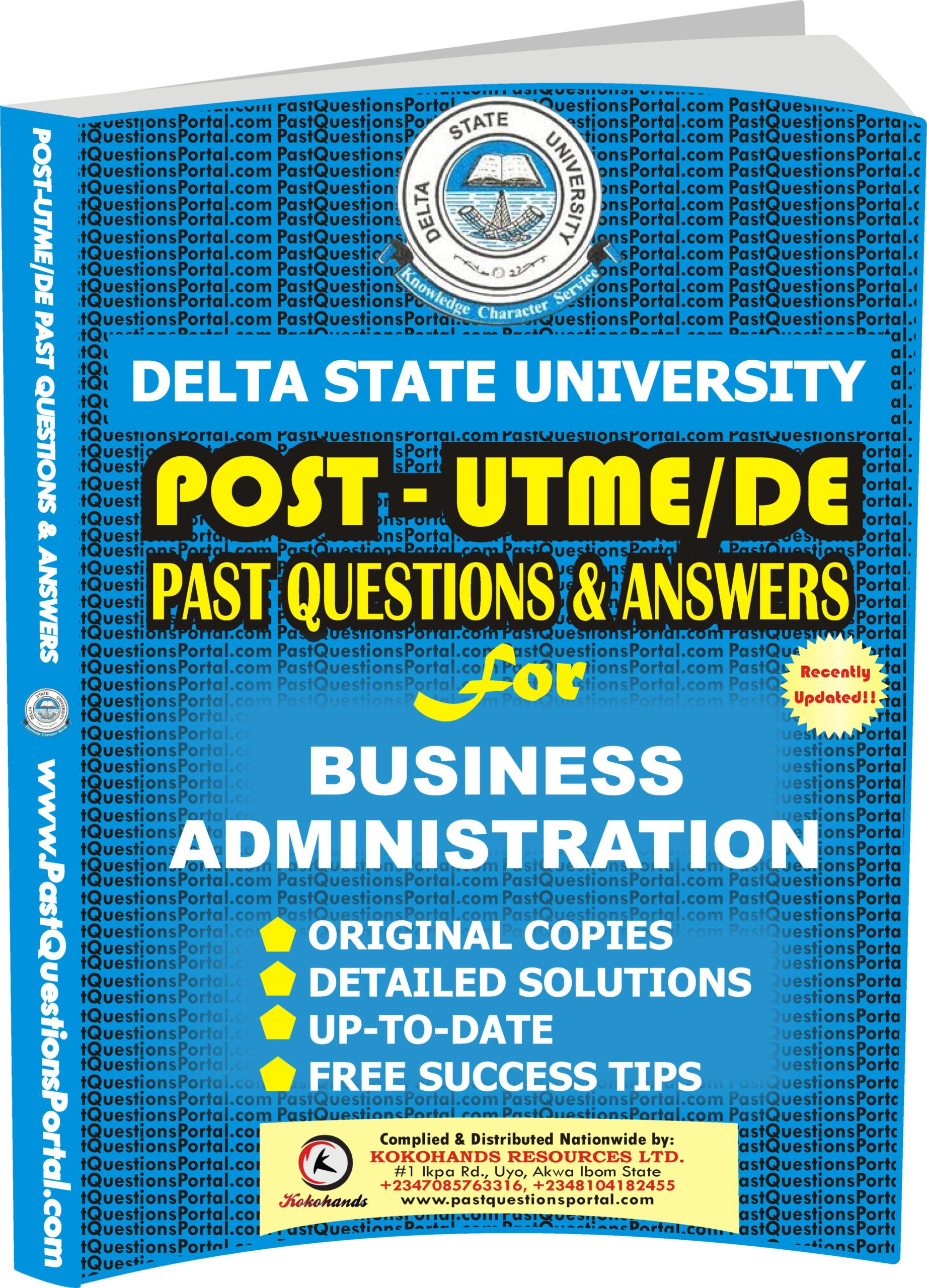 DELSU Post UTME Past Questions for BUSINESS ADMINISTRATION