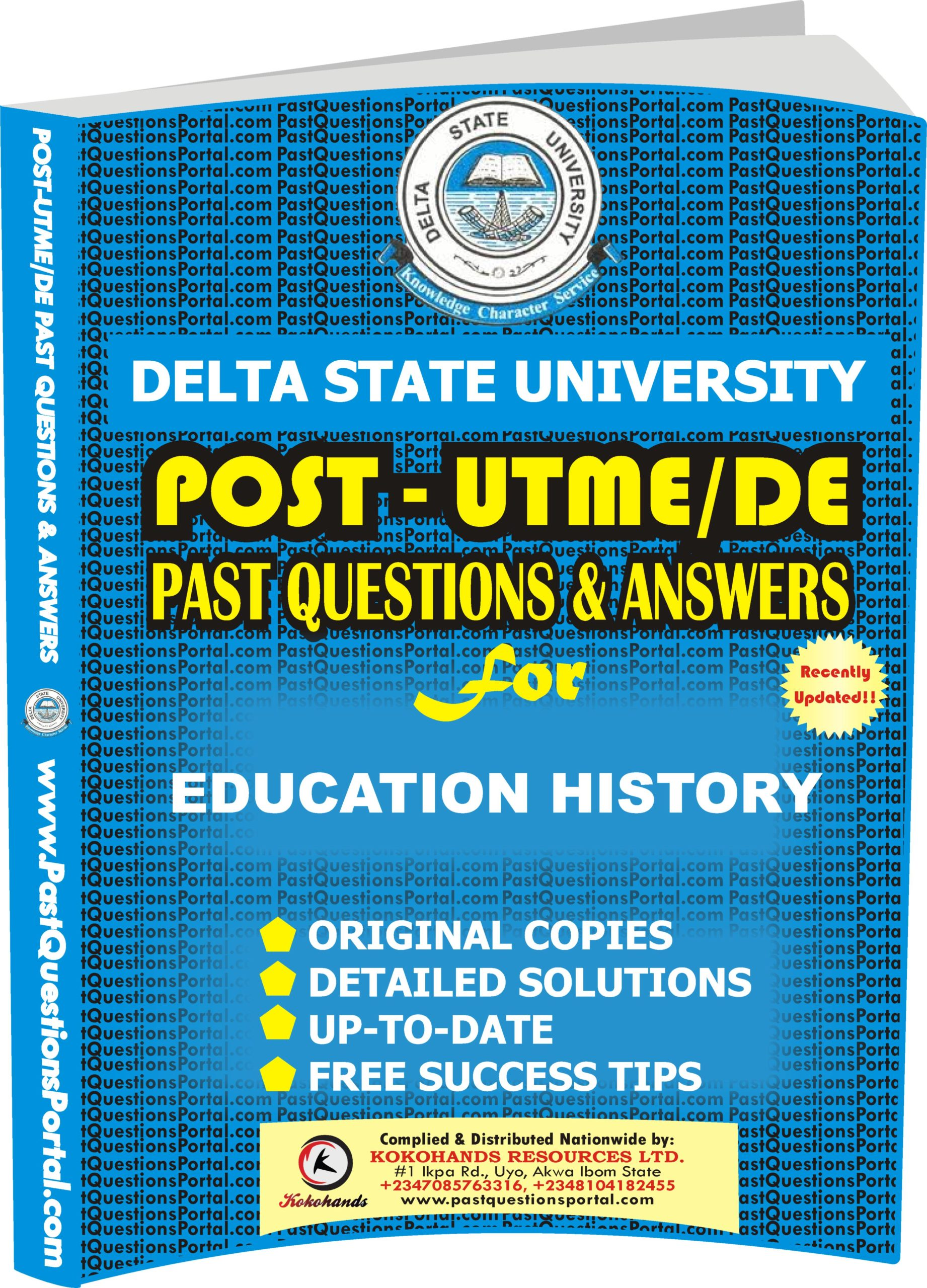 DELSU Post UTME Past Questions for EDUCATION HISTORY