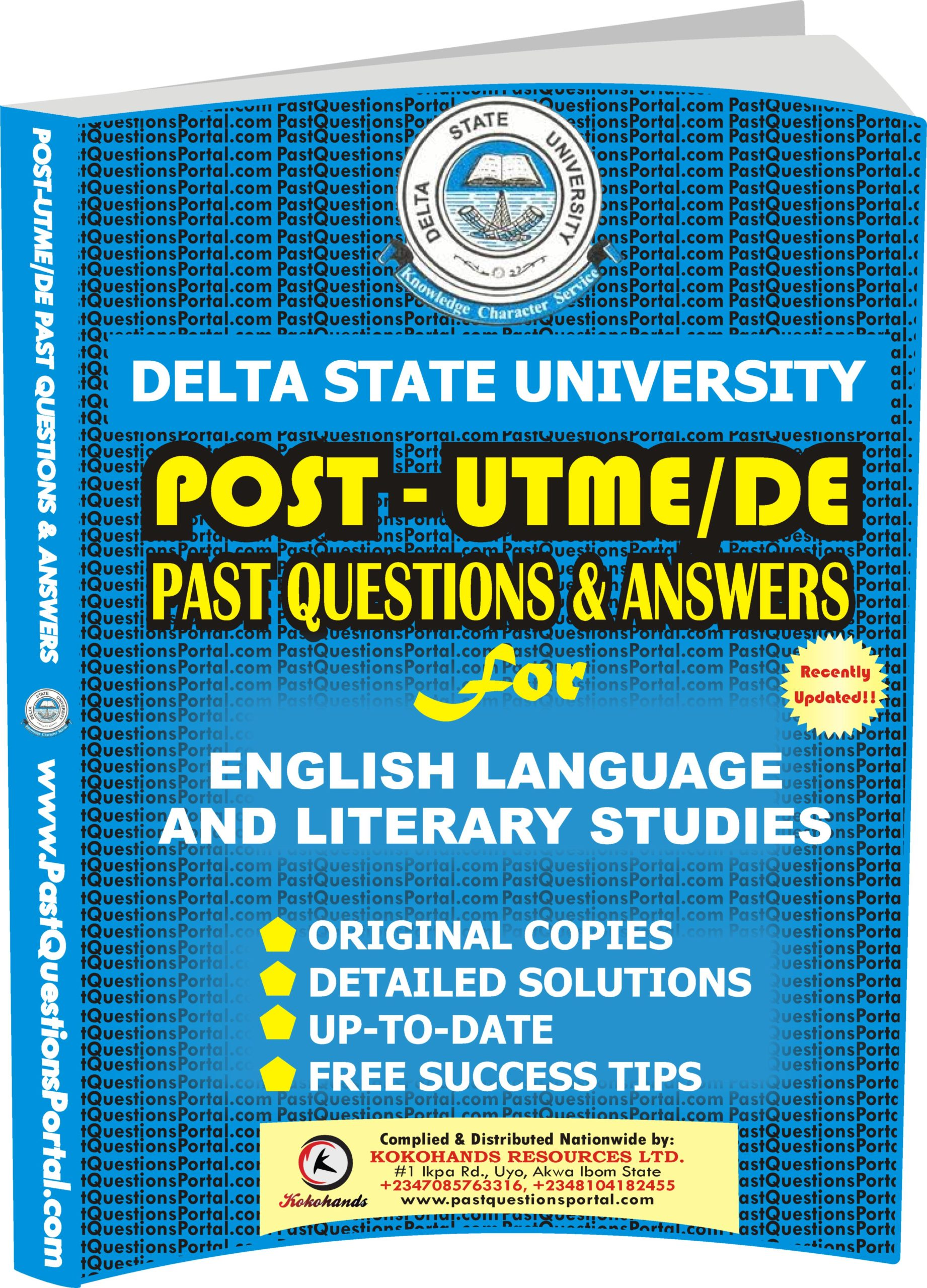 DELSU Post UTME Past Questions for English Language and Literary Studies