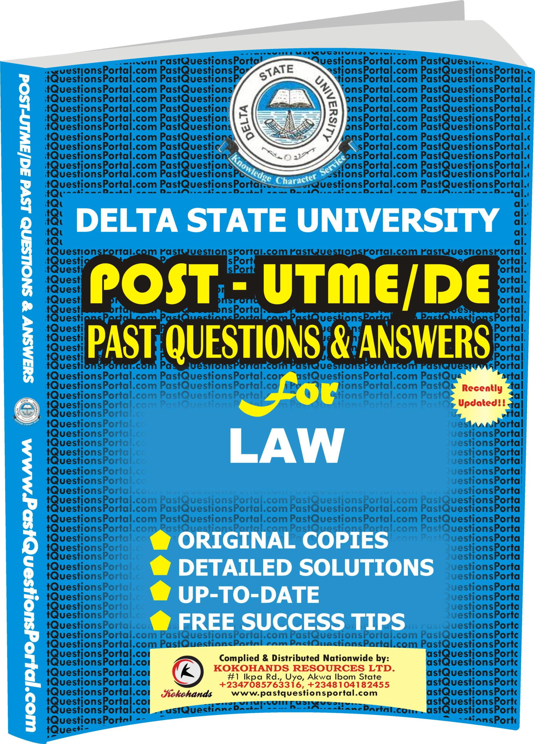 DELSU Post UTME Past Questions for LAW