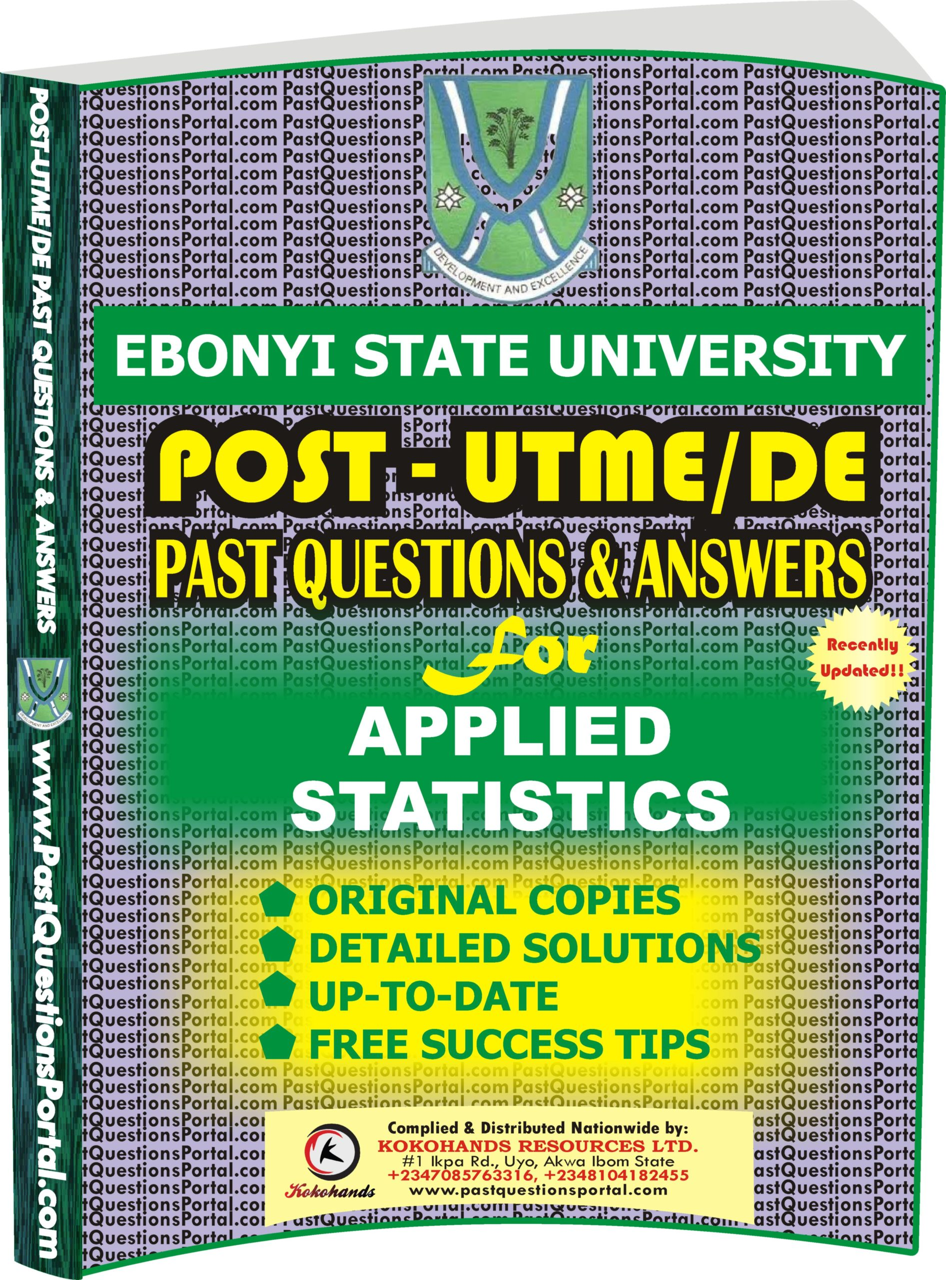 EBSU Post UTME Past Questions for APPLIED STATISTICS